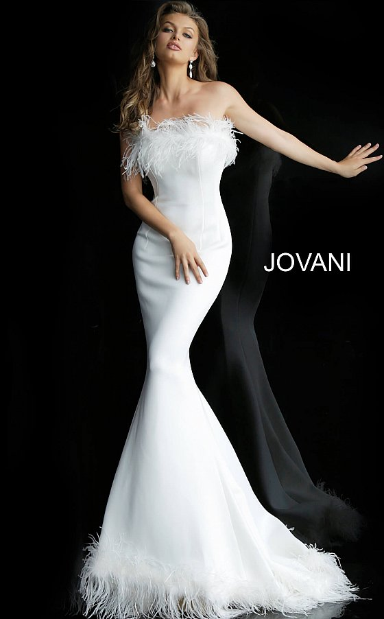 Jovani feather strapless formal gown 63891