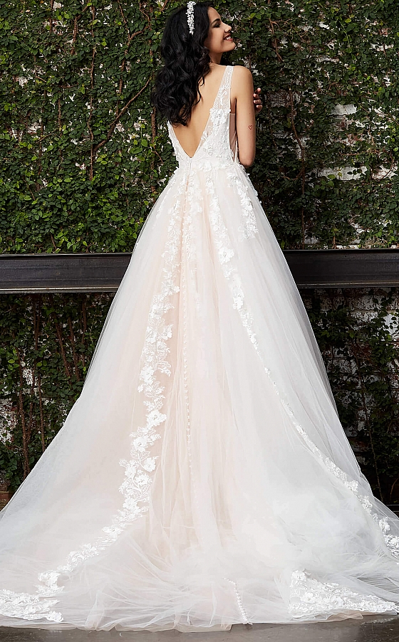 Off white blush v back ballgown Jovani JB05353