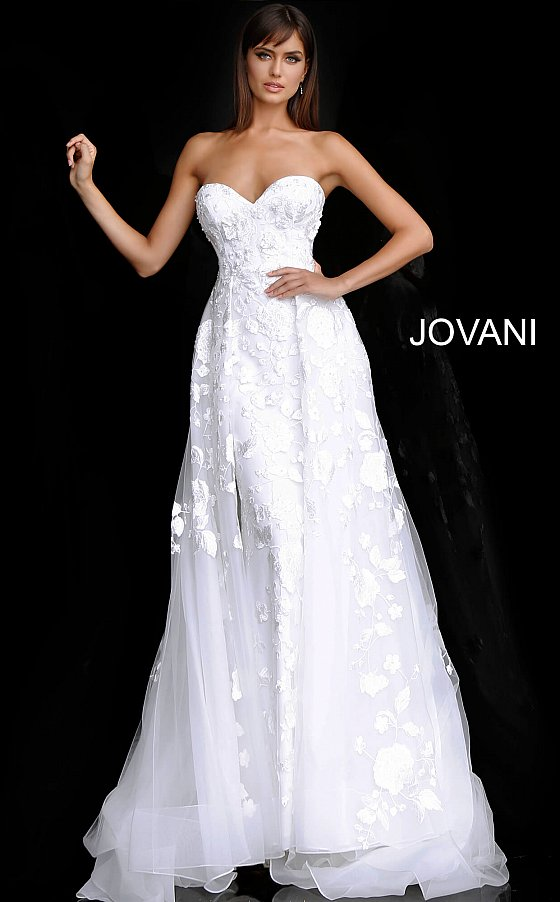 Off White Strapless Sweetheart Neck Bridal Gown JB65935