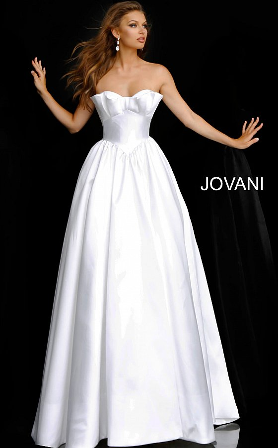 jovani Off White Strapless Lace Up Back Wedding Ballgown JB68158