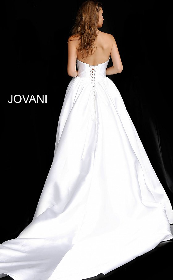 Jovani A-line strapless white wedding gown JB68158