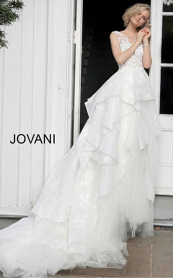 Off White Floral Embroidered Wedding Dress JB68165