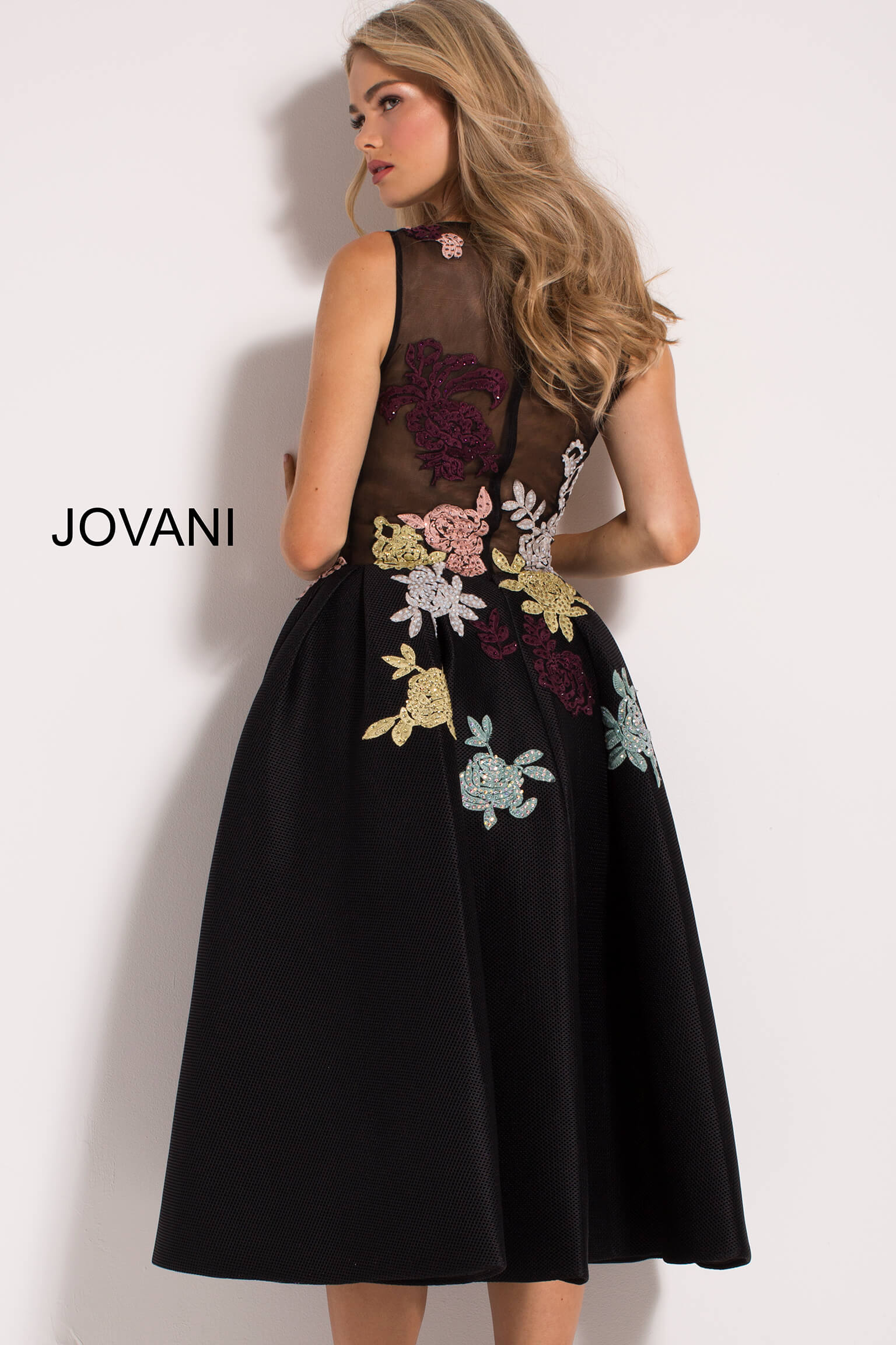 Black Fit and Flare Floral Appliques Contemporary Dress  23695