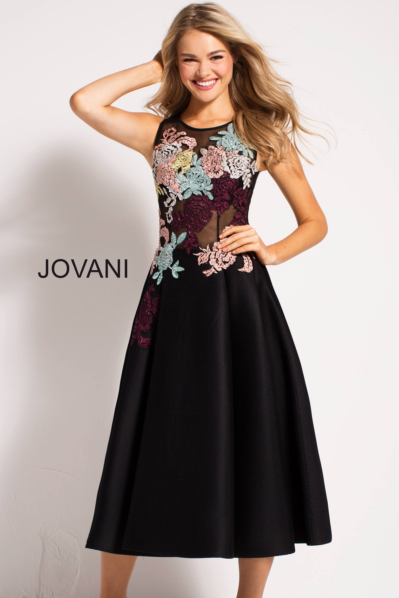 jovani Black Fit and Flare Floral Appliques Contemporary Dress  23695