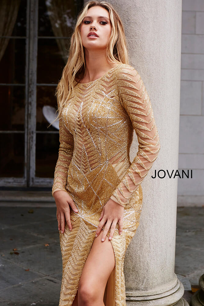 Gold Long Sleeve Embellished Couture Dress 51460