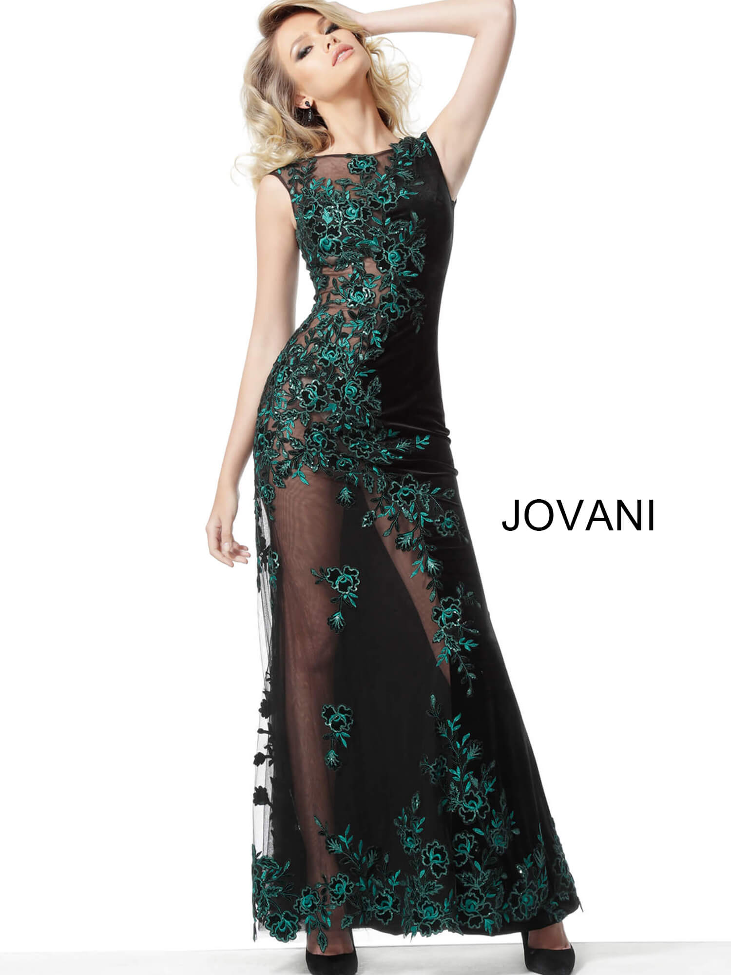 jovani Jovani 63645 Black Teal Embroidered Couture Dress on mobile 2