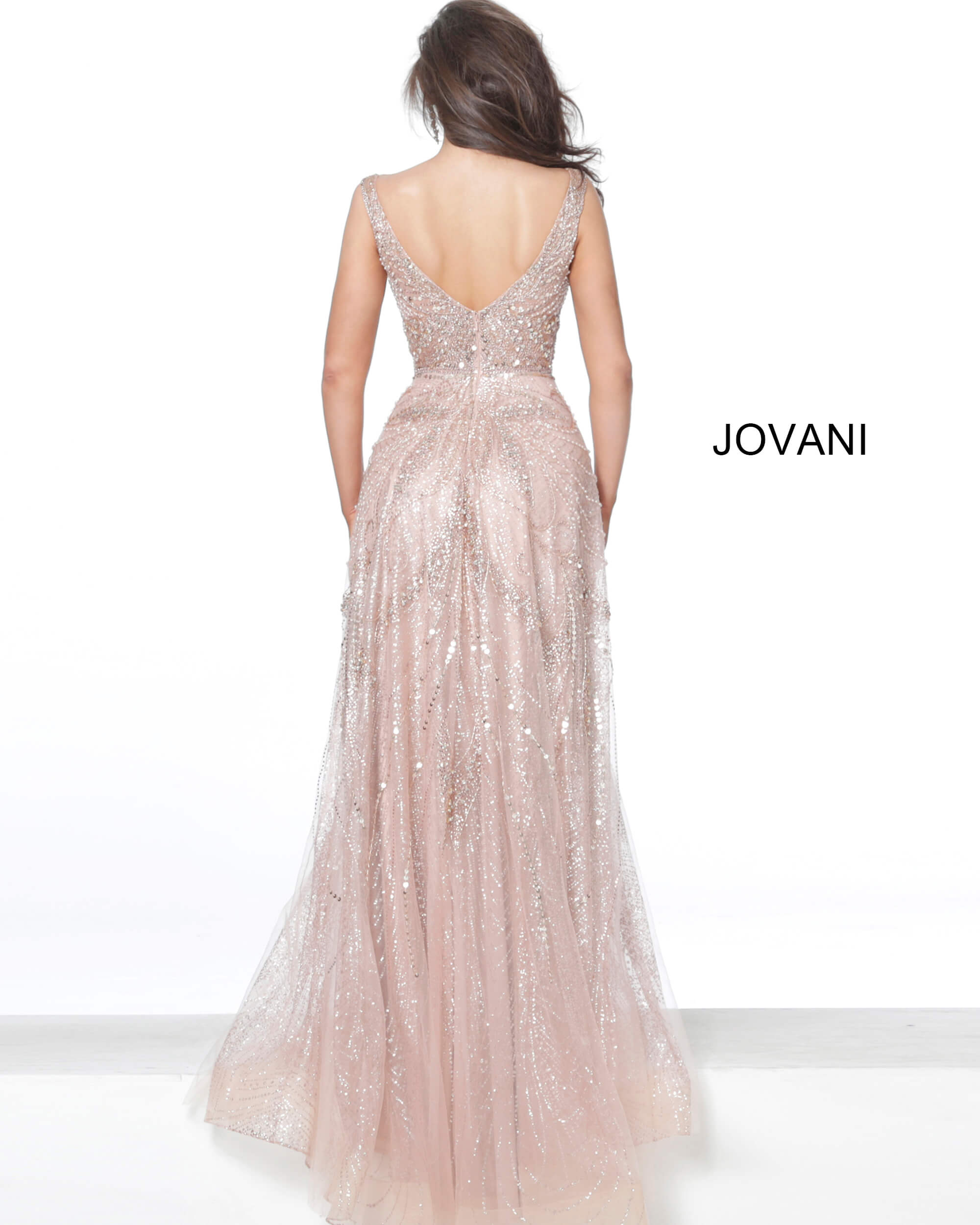 Rose gold V back evening dress Jovani 05339 on mobile 0