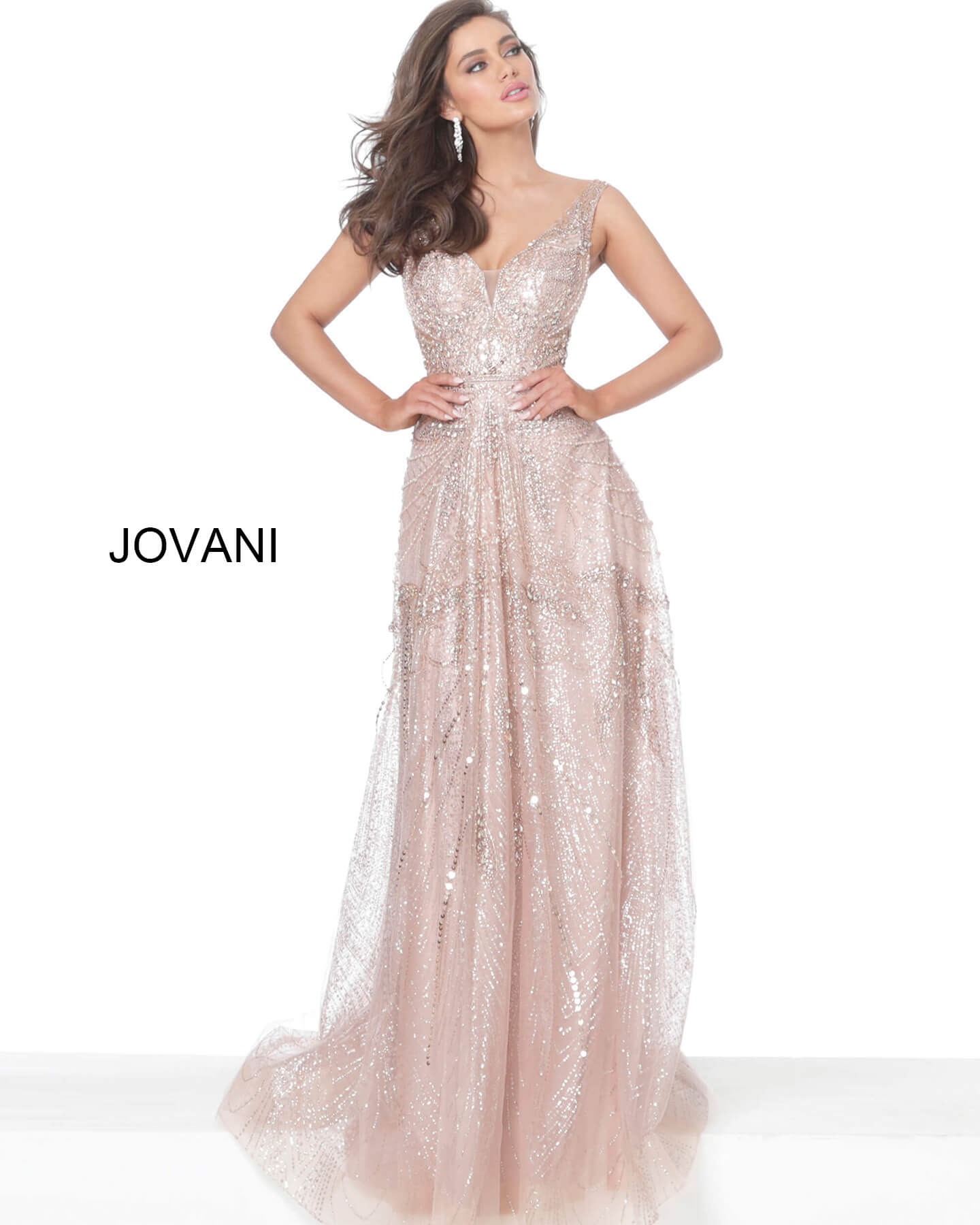 jovani Jovani 03203 Rose Gold Embellished V Neck Evening Dress on mobile 1