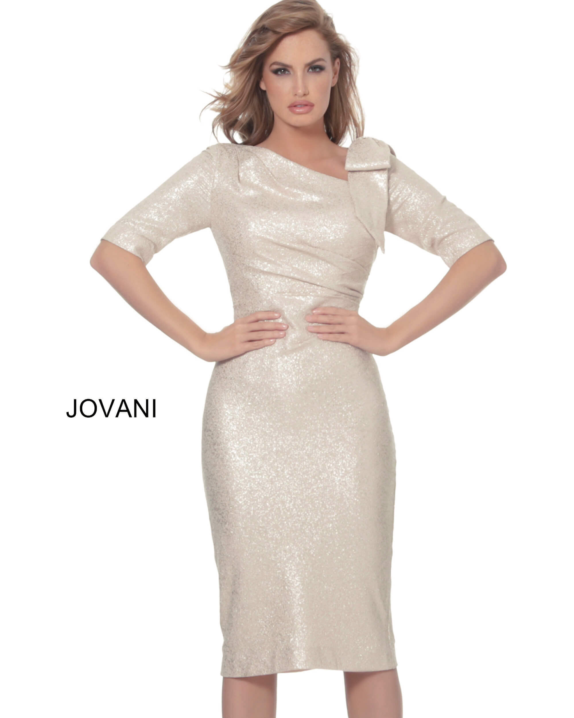 Sheath light gold cocktail dress 03641  on mobile 2