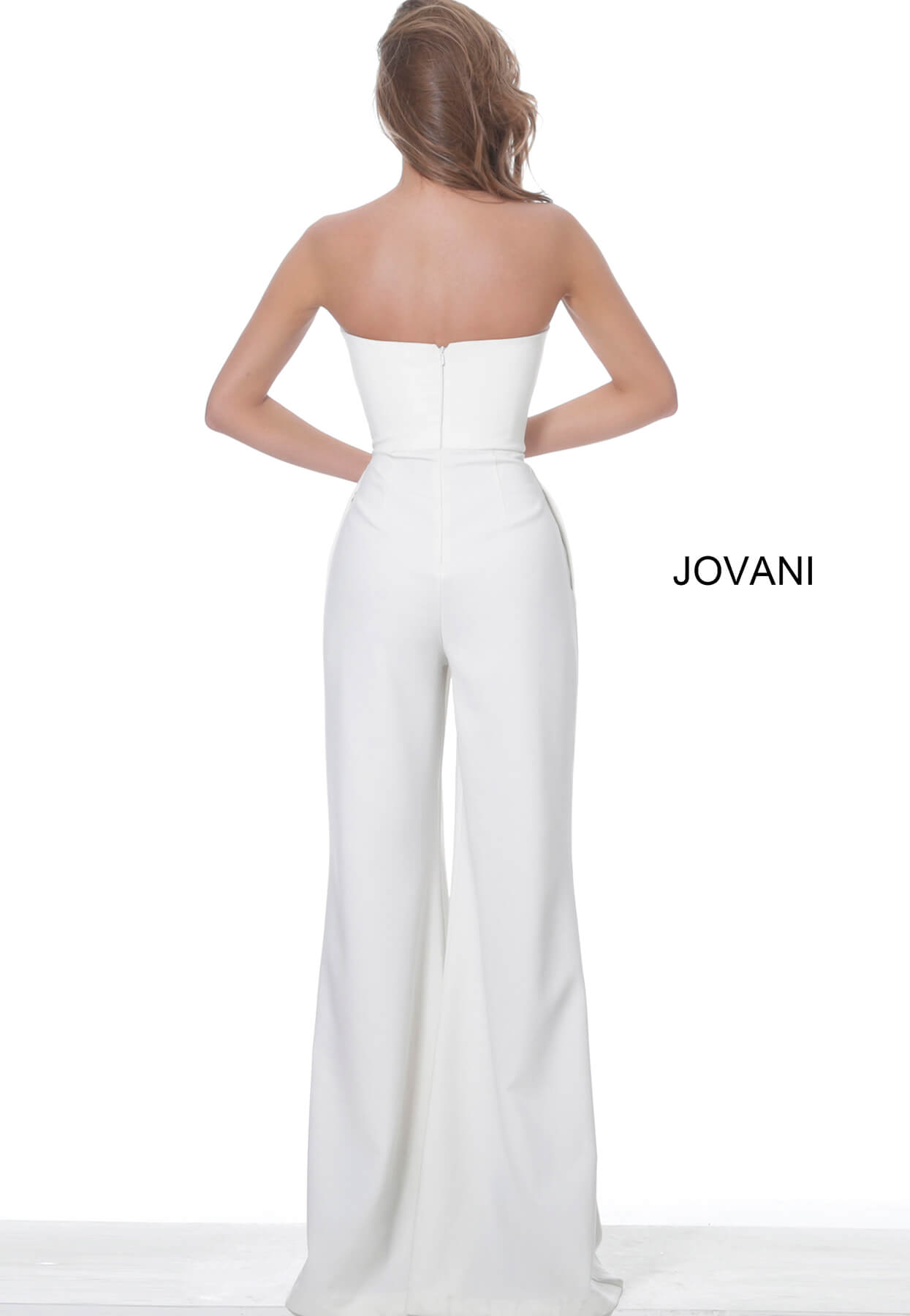 Strapless white evening jumpsuit Jovani 03828 on mobile 0