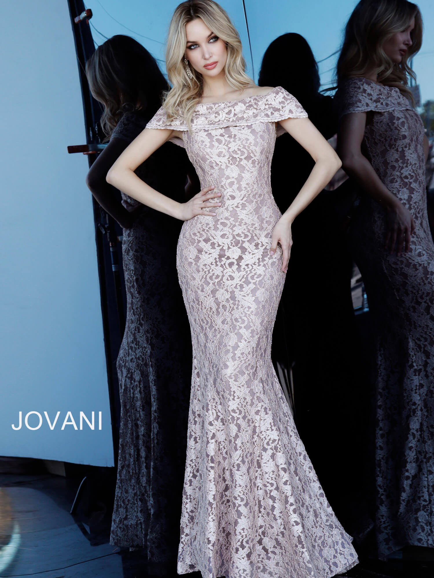 jovani Jovani 1814 Taupe Off the Shoulder Fitted Lace Evening Dress