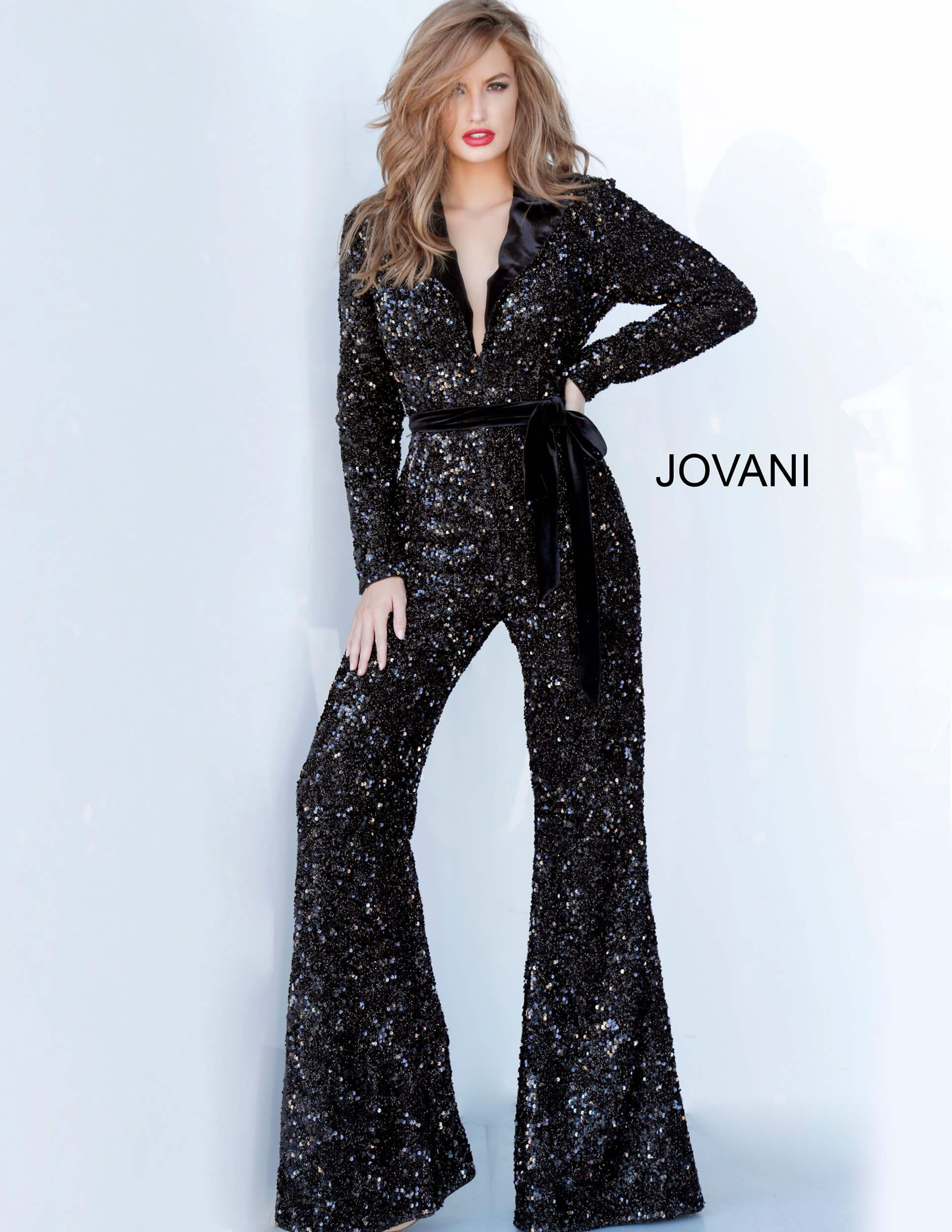 jovani Jovani 1931 Black Long Sleeve Evening Jumpsuit
