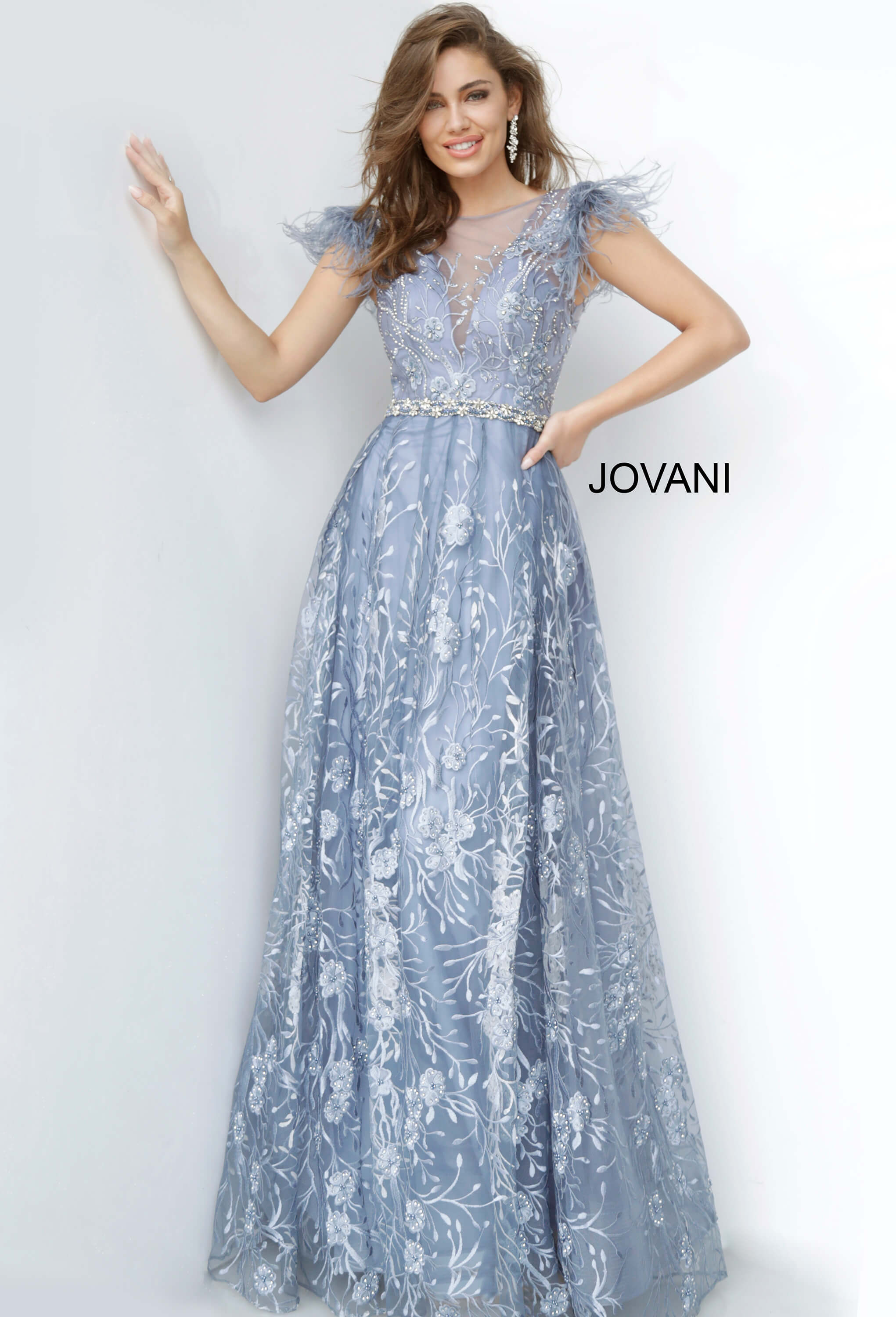 jovani Jovani 2350 Embroidered Maxi Evening Gown on mobile 3