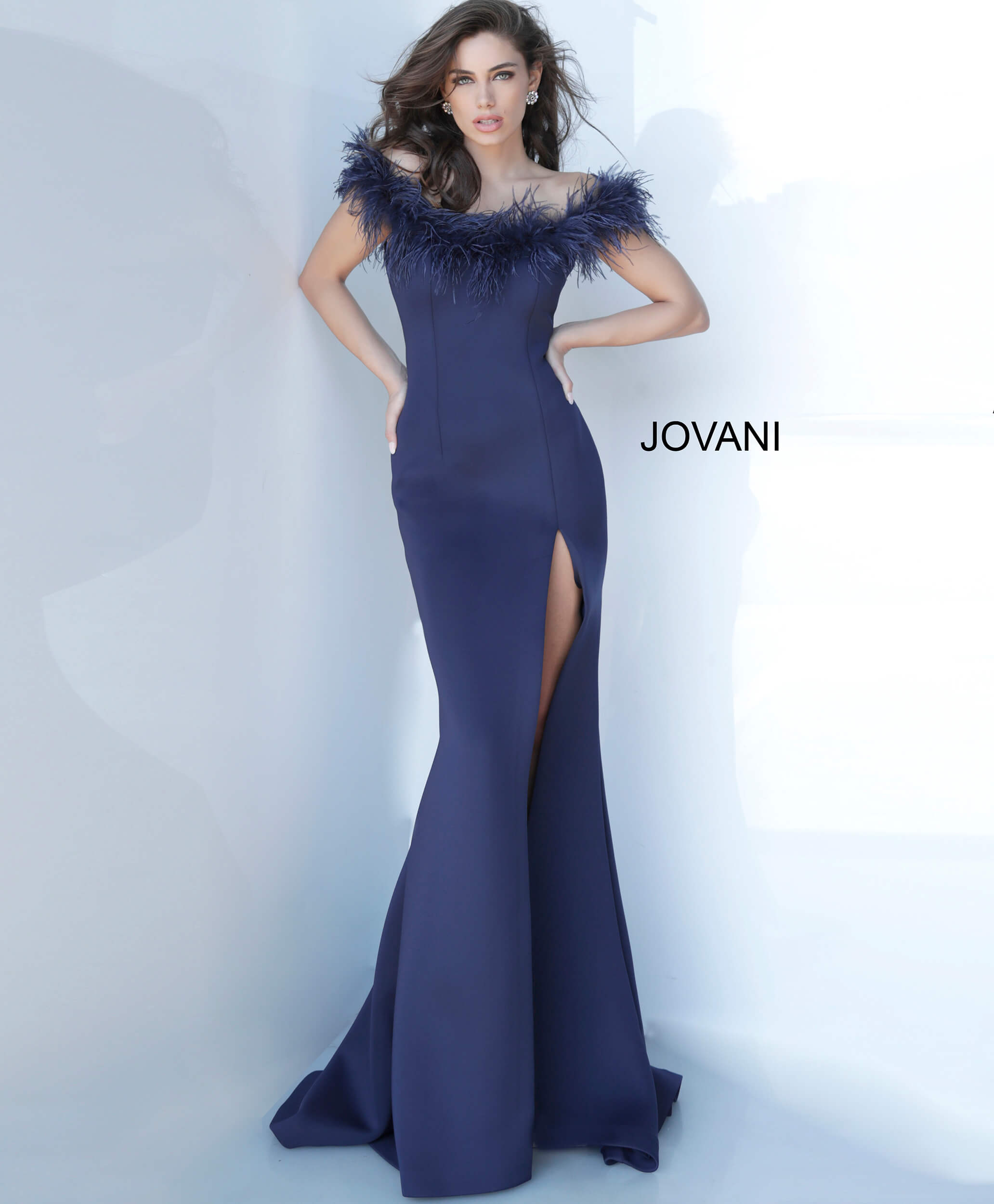 jovani Jovani 2944 Off the Shoulder Feather Neckline Evening Gown