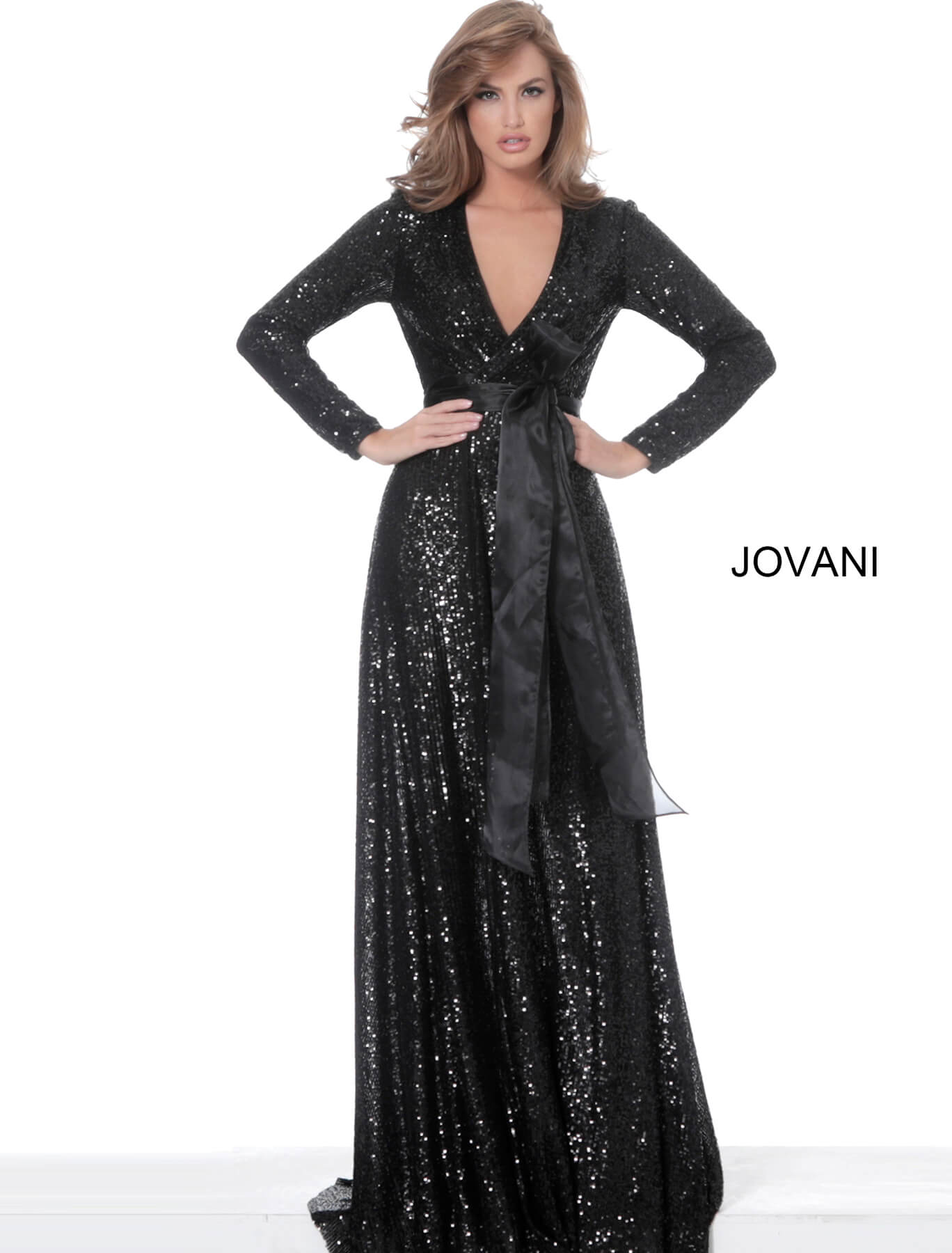 Black sequin evening dress Jovani 3395