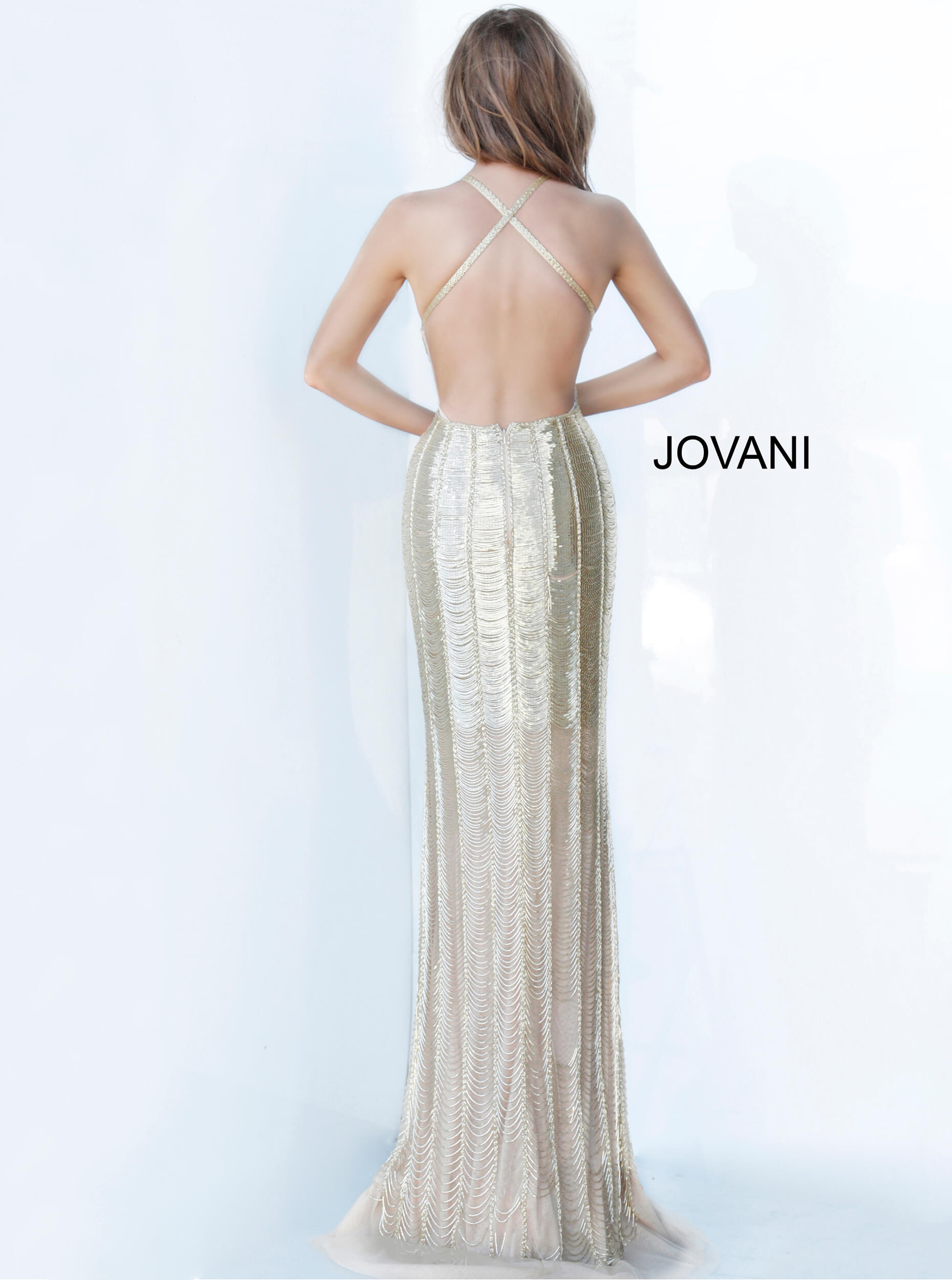 Nude criss cross back evening dress Jovani 4076 on mobile 3