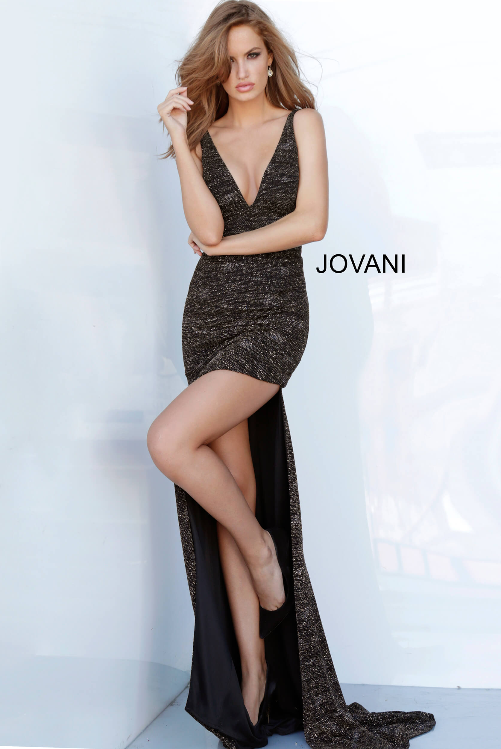 jovani Jovani 4085 Plunging Neck Fitted Sexy Prom Dress