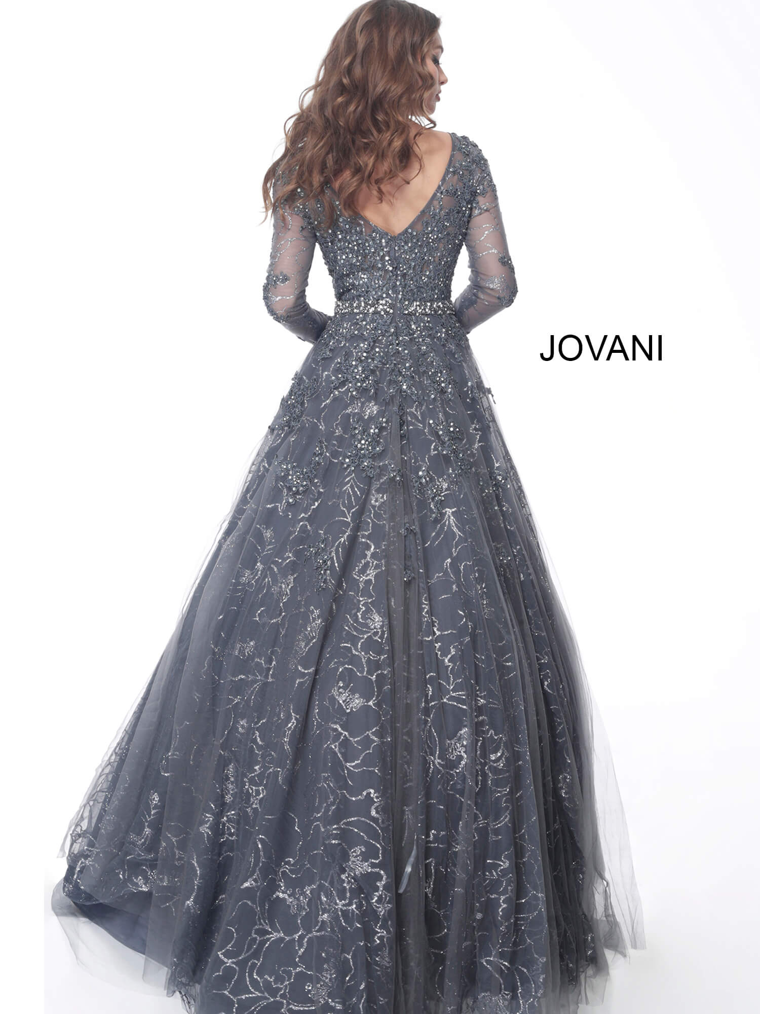 Jovani gunmetal beaded long sleeve evening gown 51838