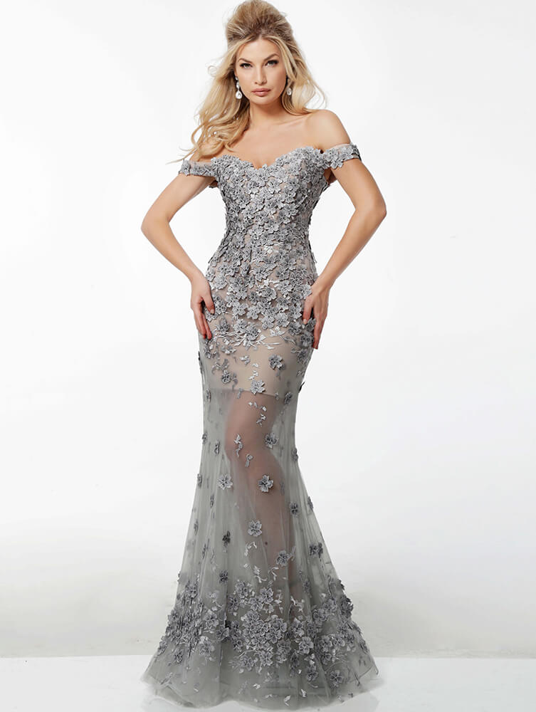 silver evening gown 55715 on mobile 3
