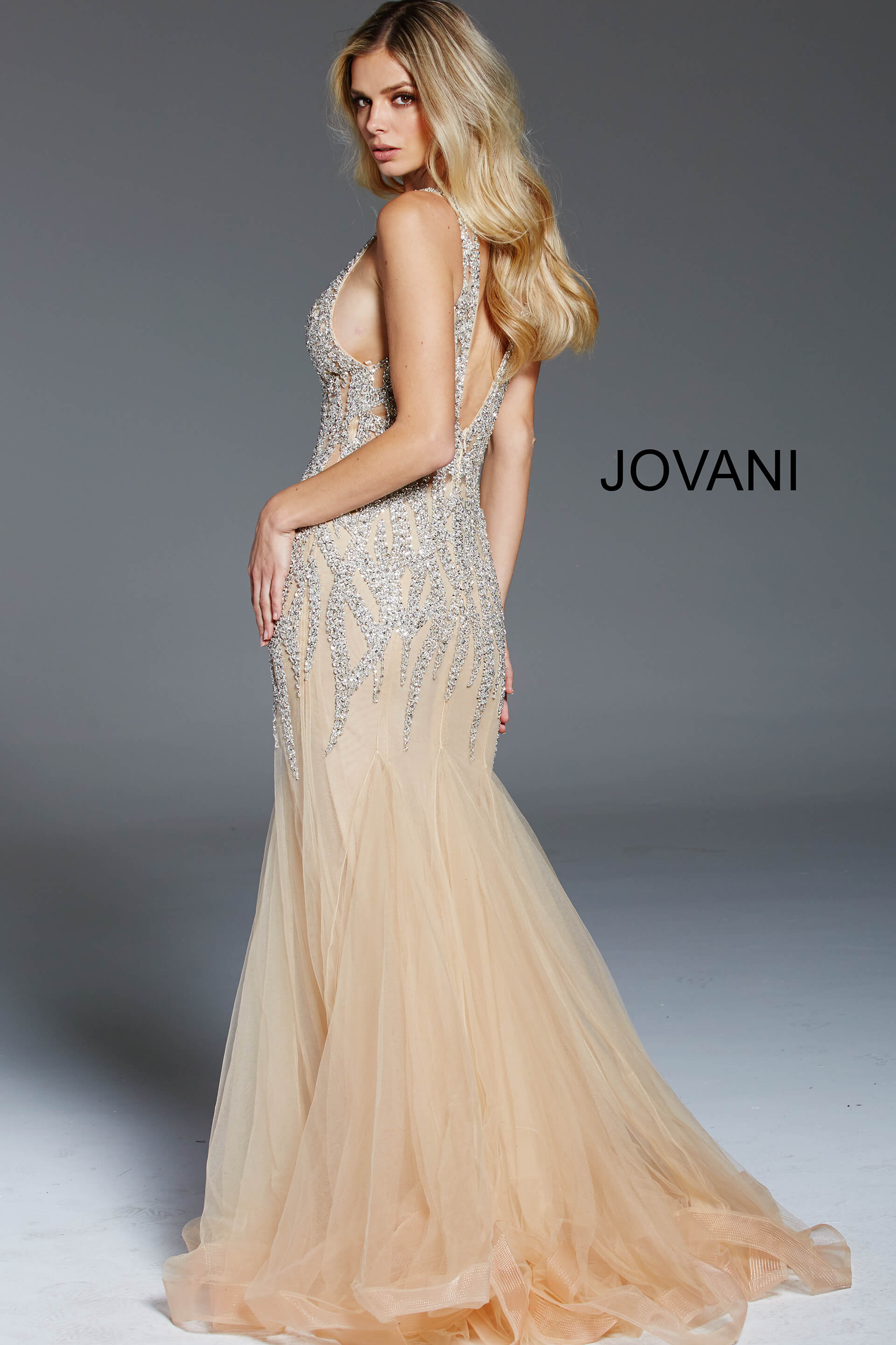 Jovani silver and nude sleeveless formal gown 59717 on mobile 2