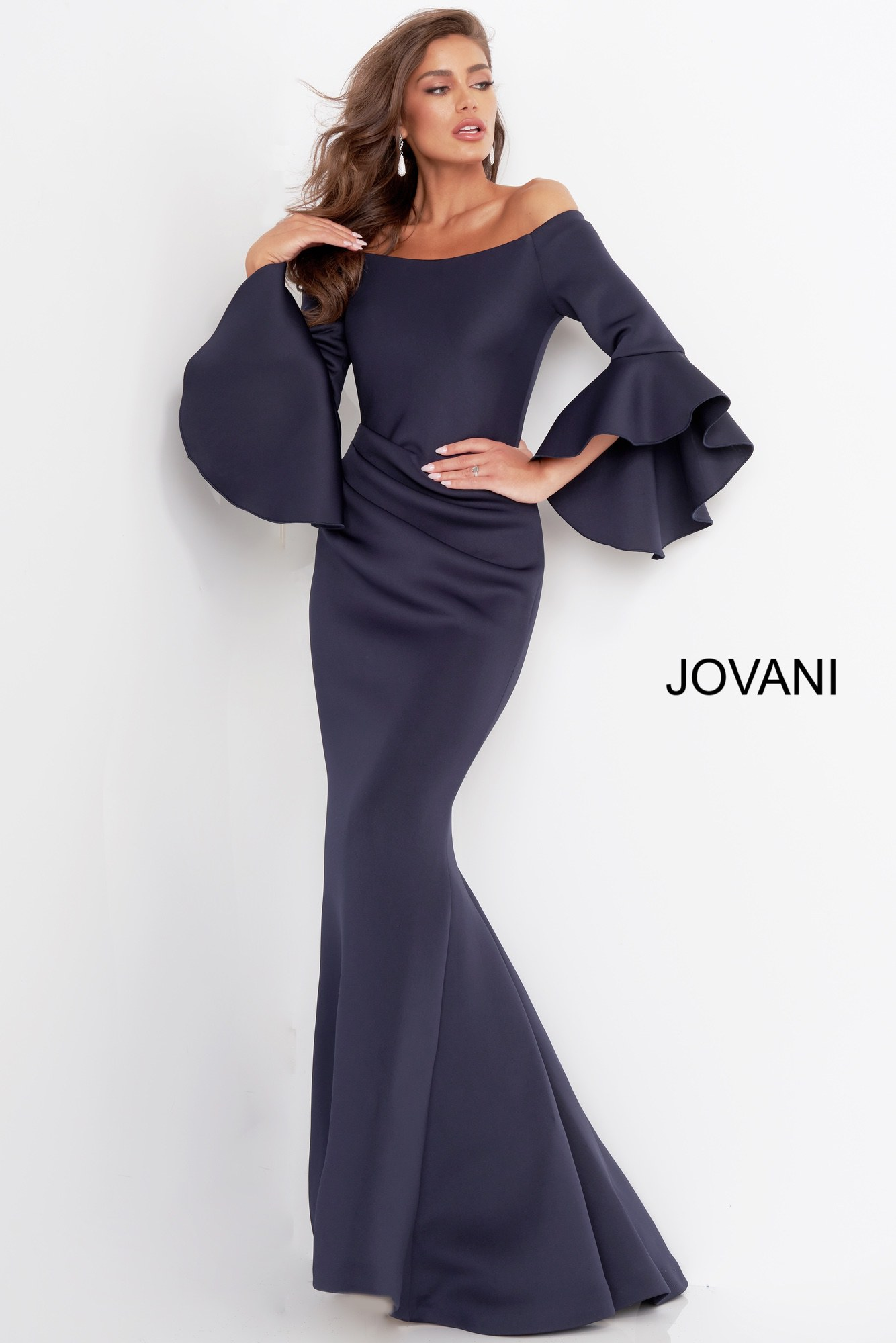 Navy bell sleeve mother of the bride Jovani dress 59993