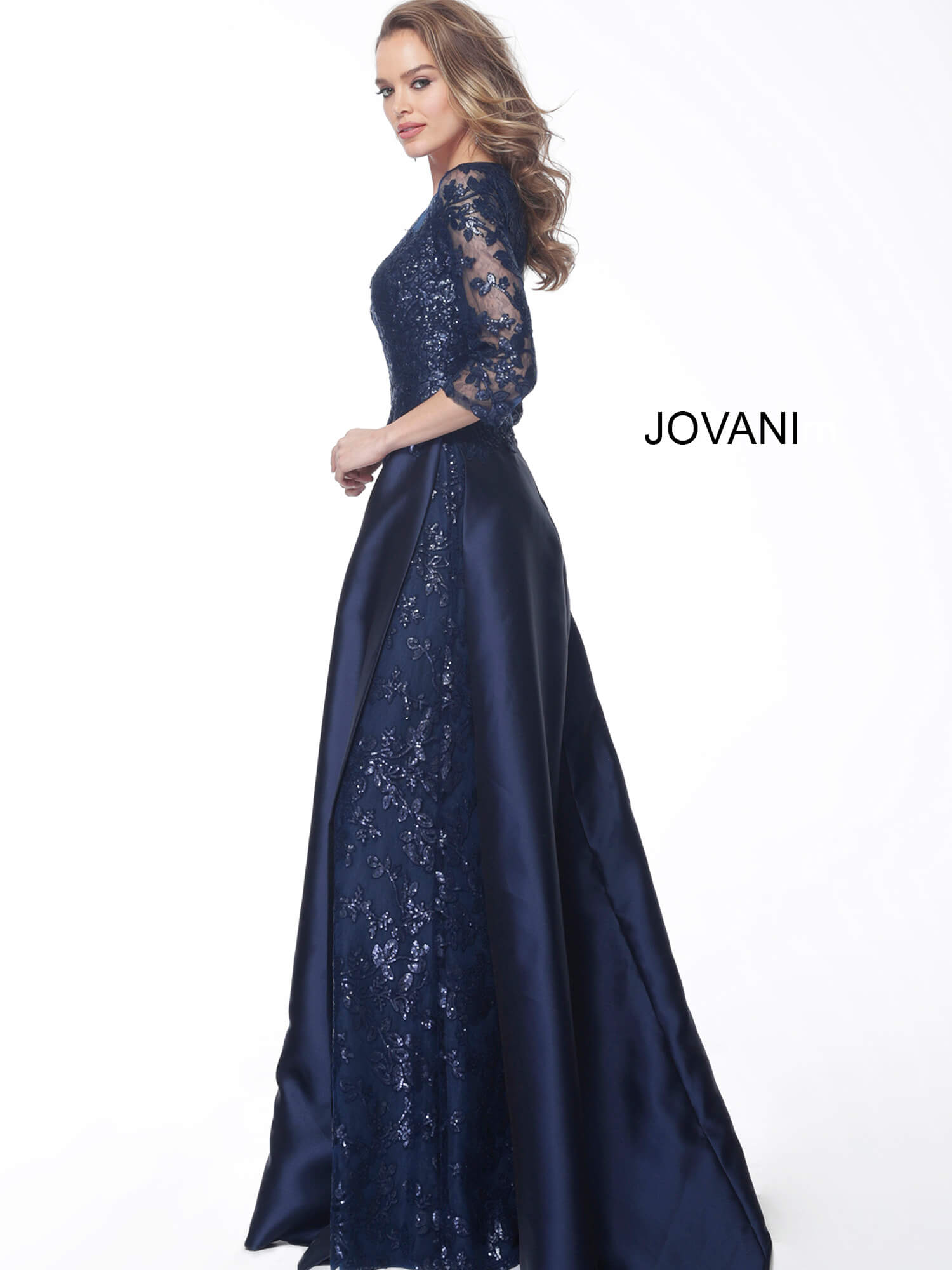 Jovani navy evening gown 61170 side view
