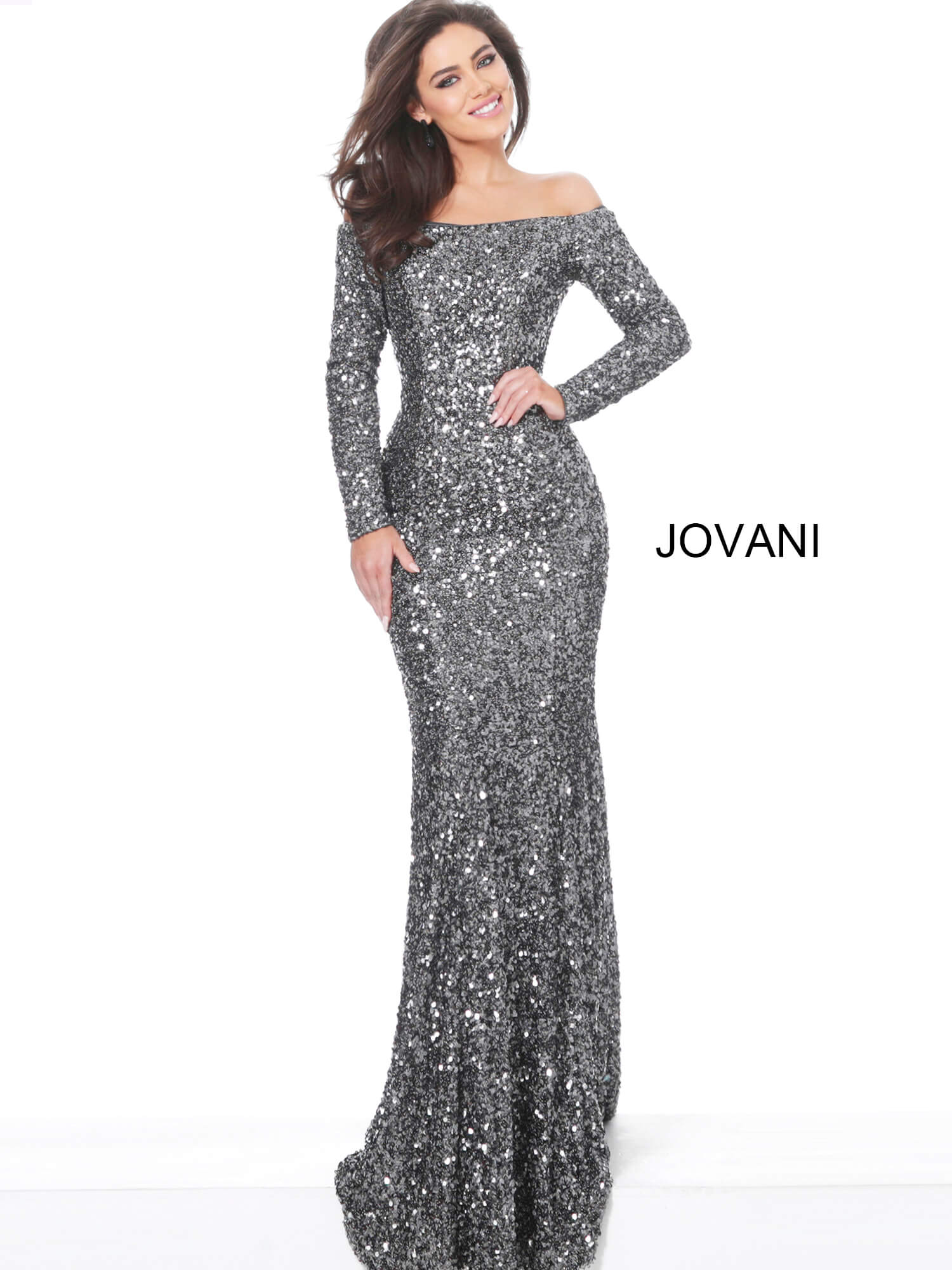 jovani Jovani 61470 Gunmetal Off the Shoulder Sequin Evening Dress on mobile 1