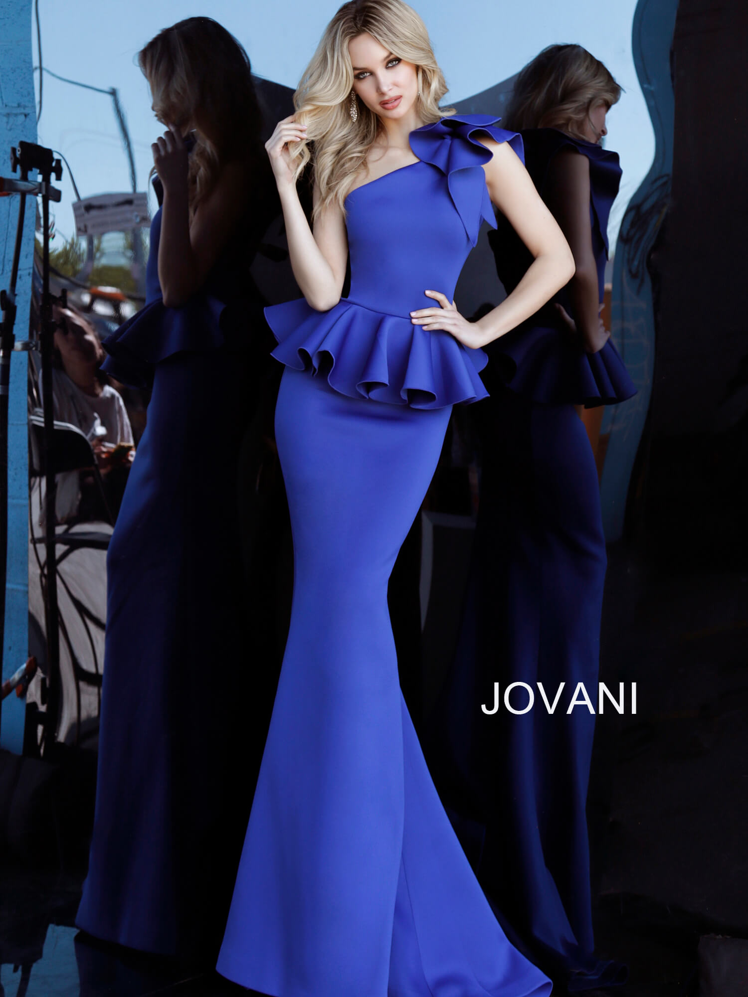 jovani Jovani 63584 Royal One Shoulder Peplum Evening Dress  on mobile 1