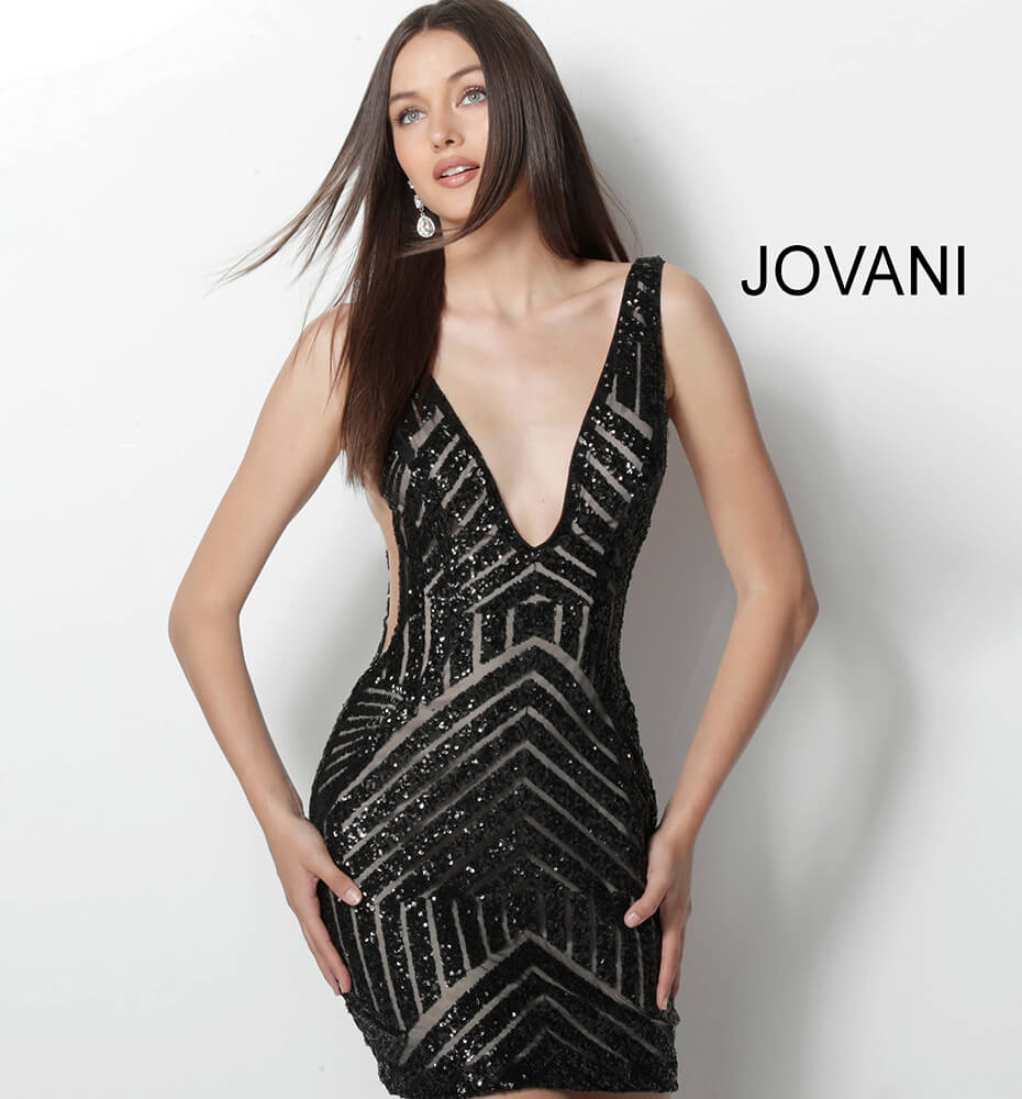 Jovani black and nude sequin fitted cocktail dress 63899 on mobile 2