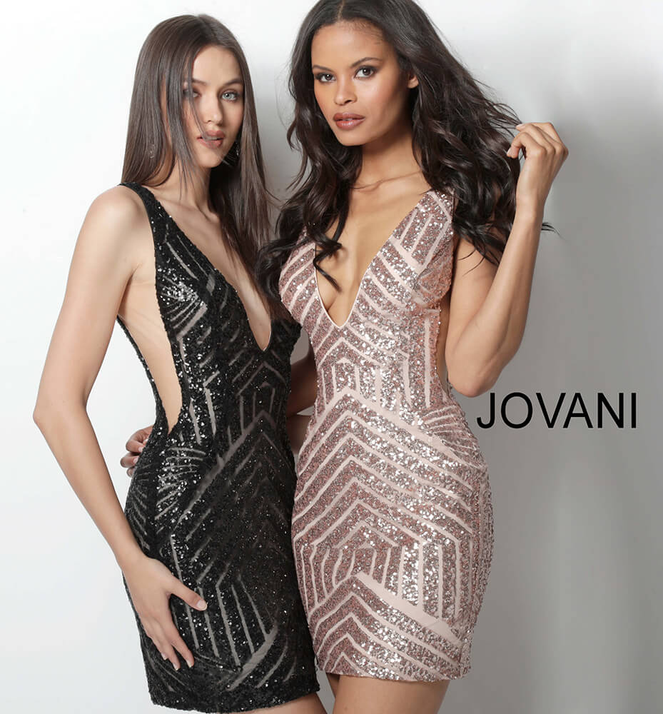 Jovani sequin panel nude short dress 63899 on mobile 6