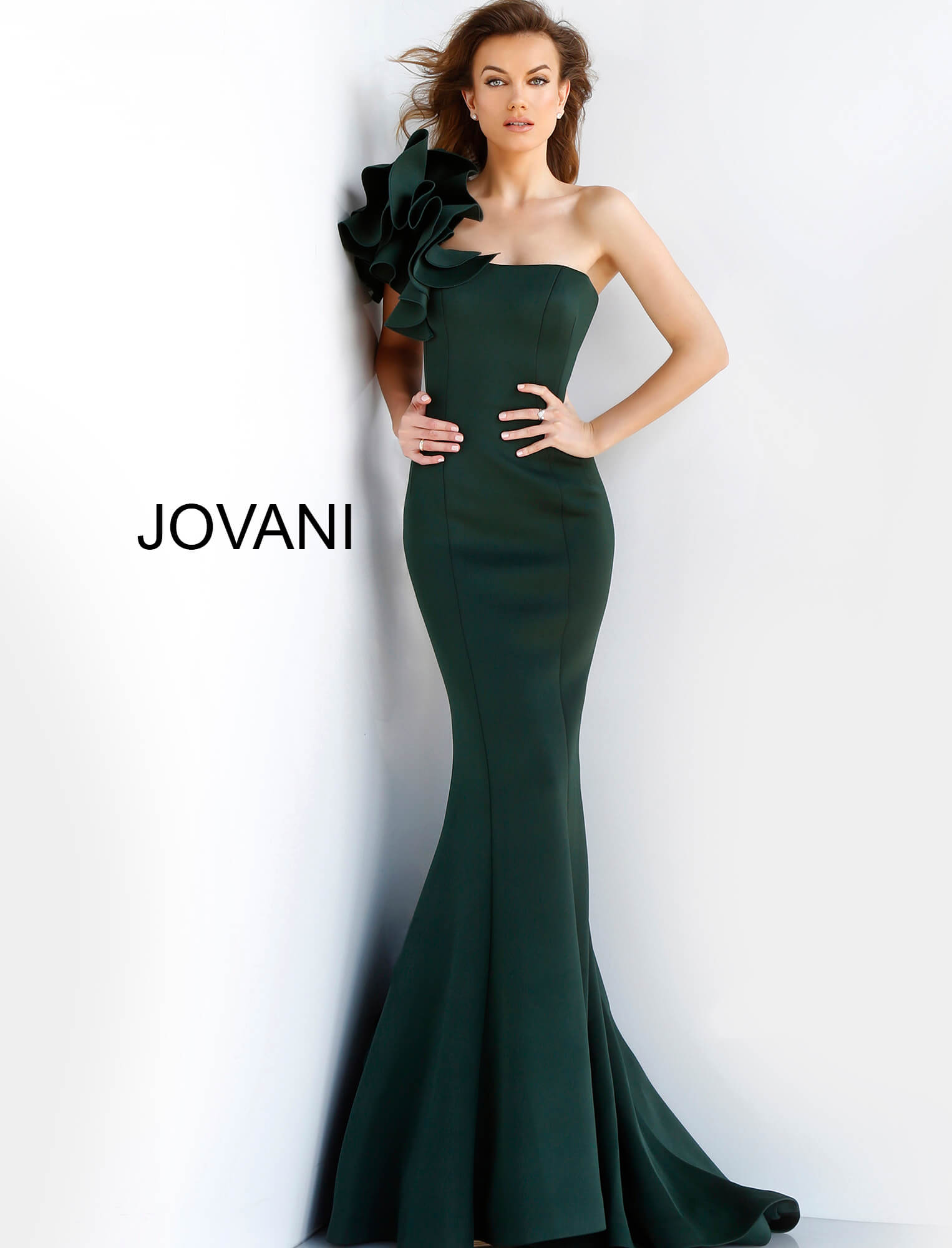 Jovani ruffle fitted evening gown 63994