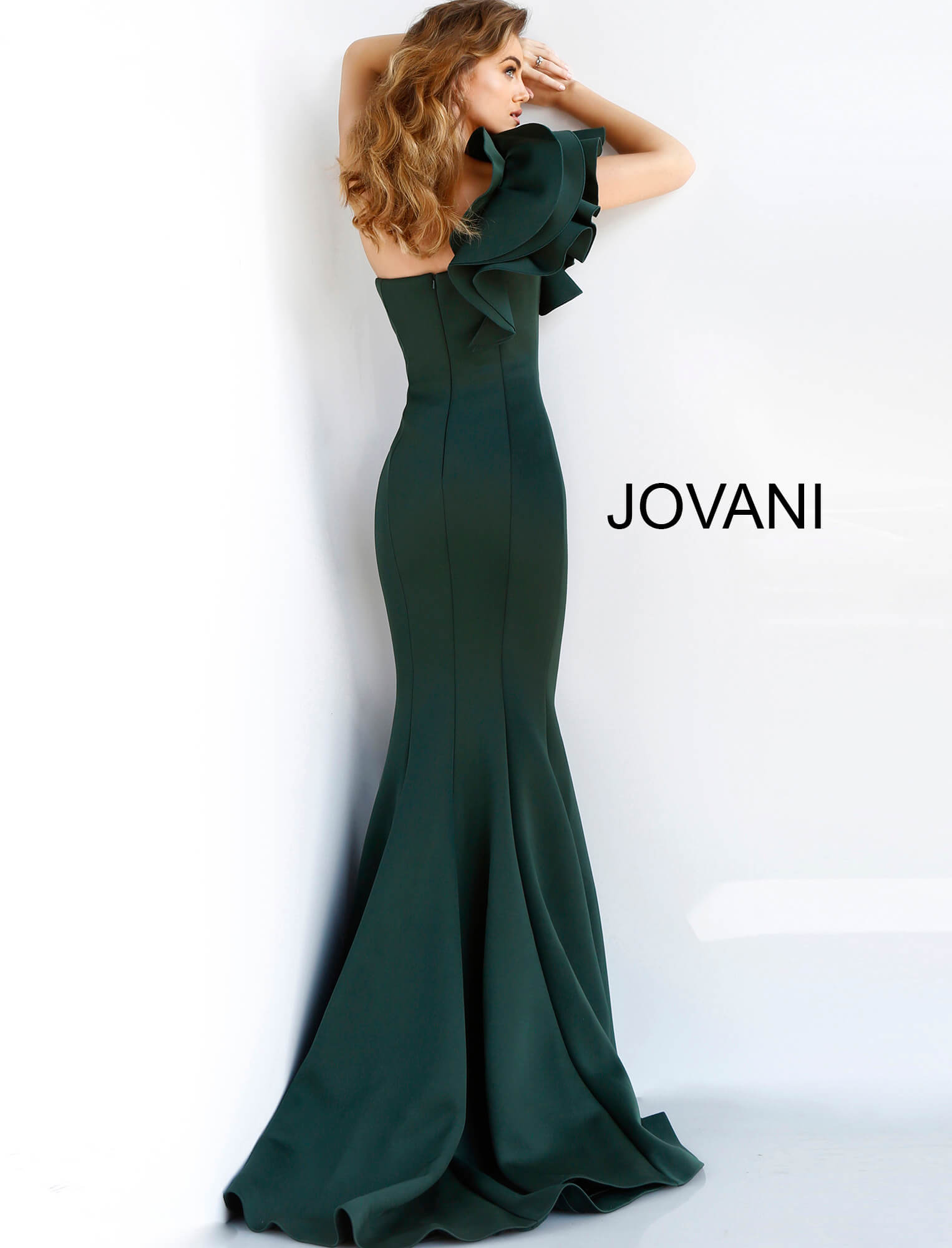 Jovani green scuba formal dress 63994