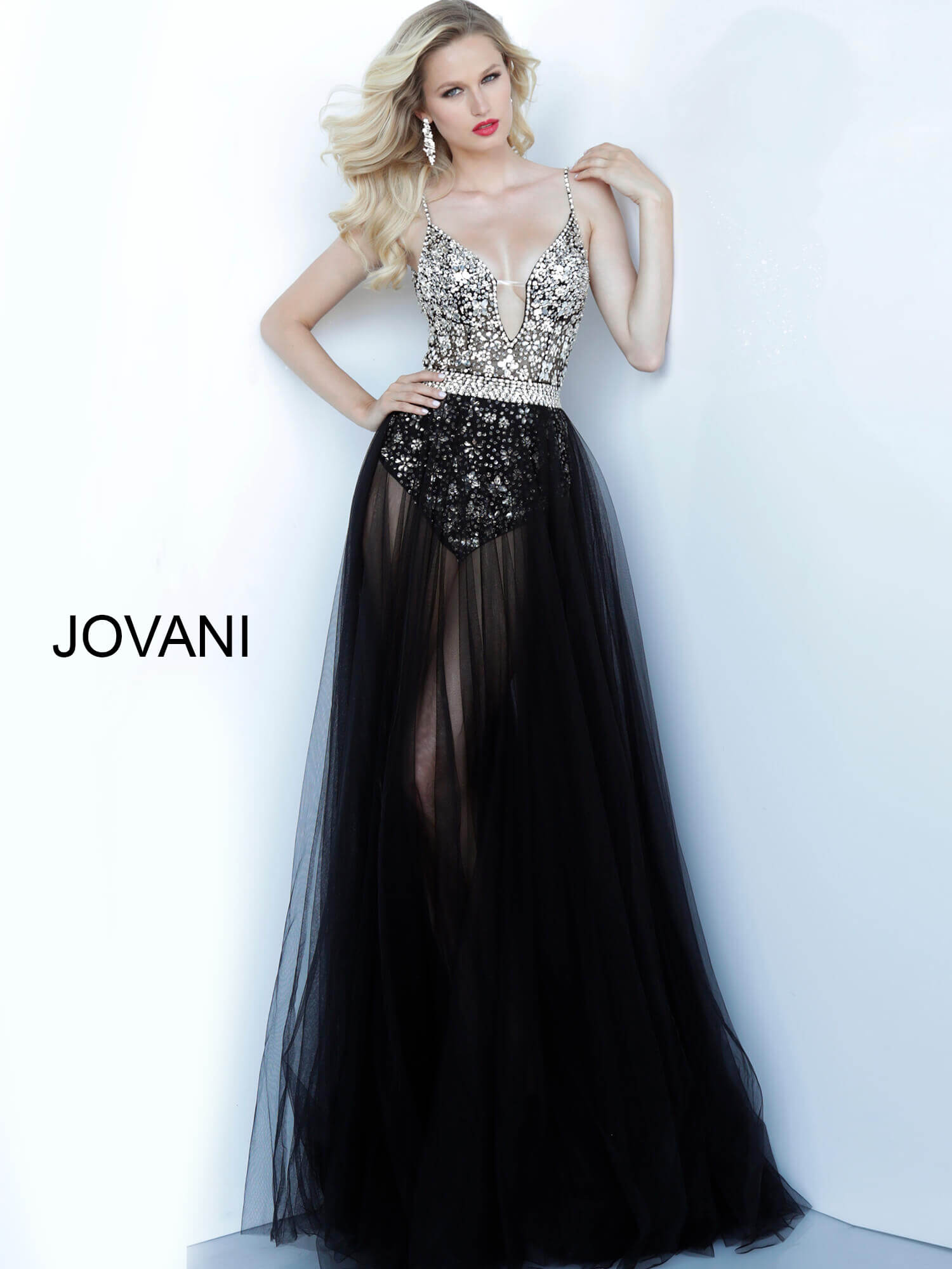 jovani Jovani 65381 Black Sheer Skirt Embellished Dress