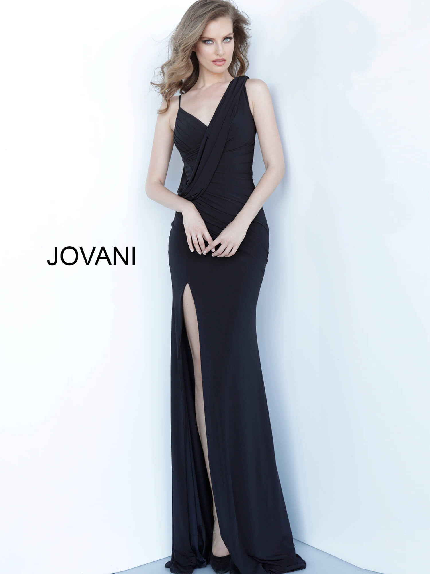 jovani Jovani 65404 Black Drape Bodice V Neck Evening Dress