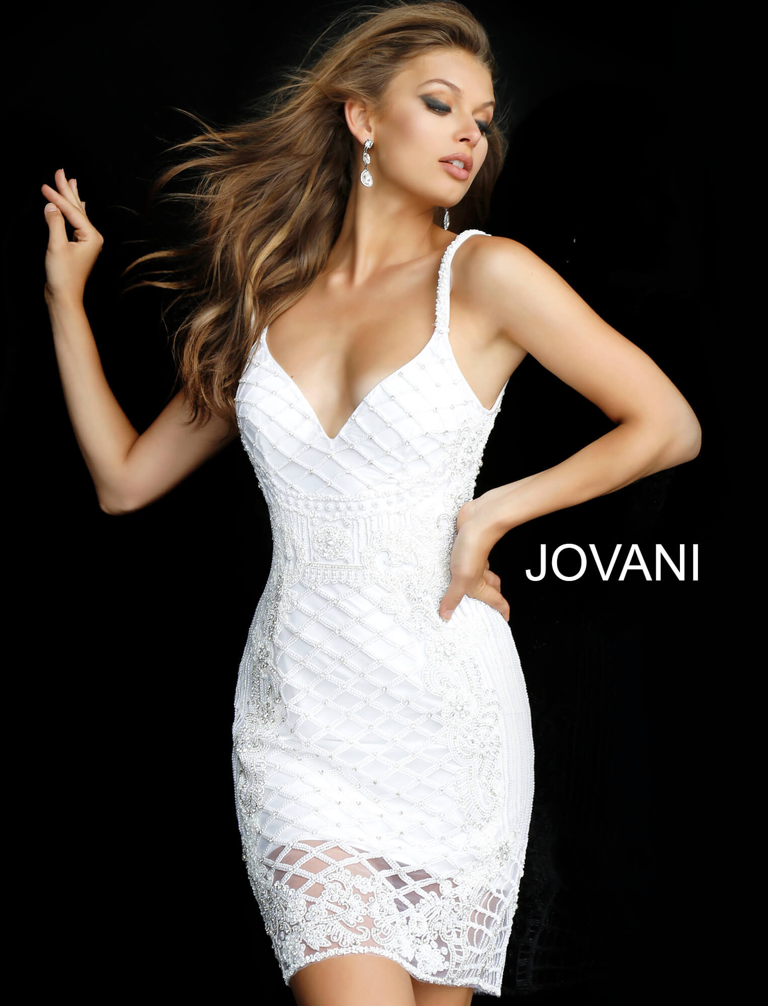 jovani White V Neck Embellished Fitted Cocktail Dress 66769