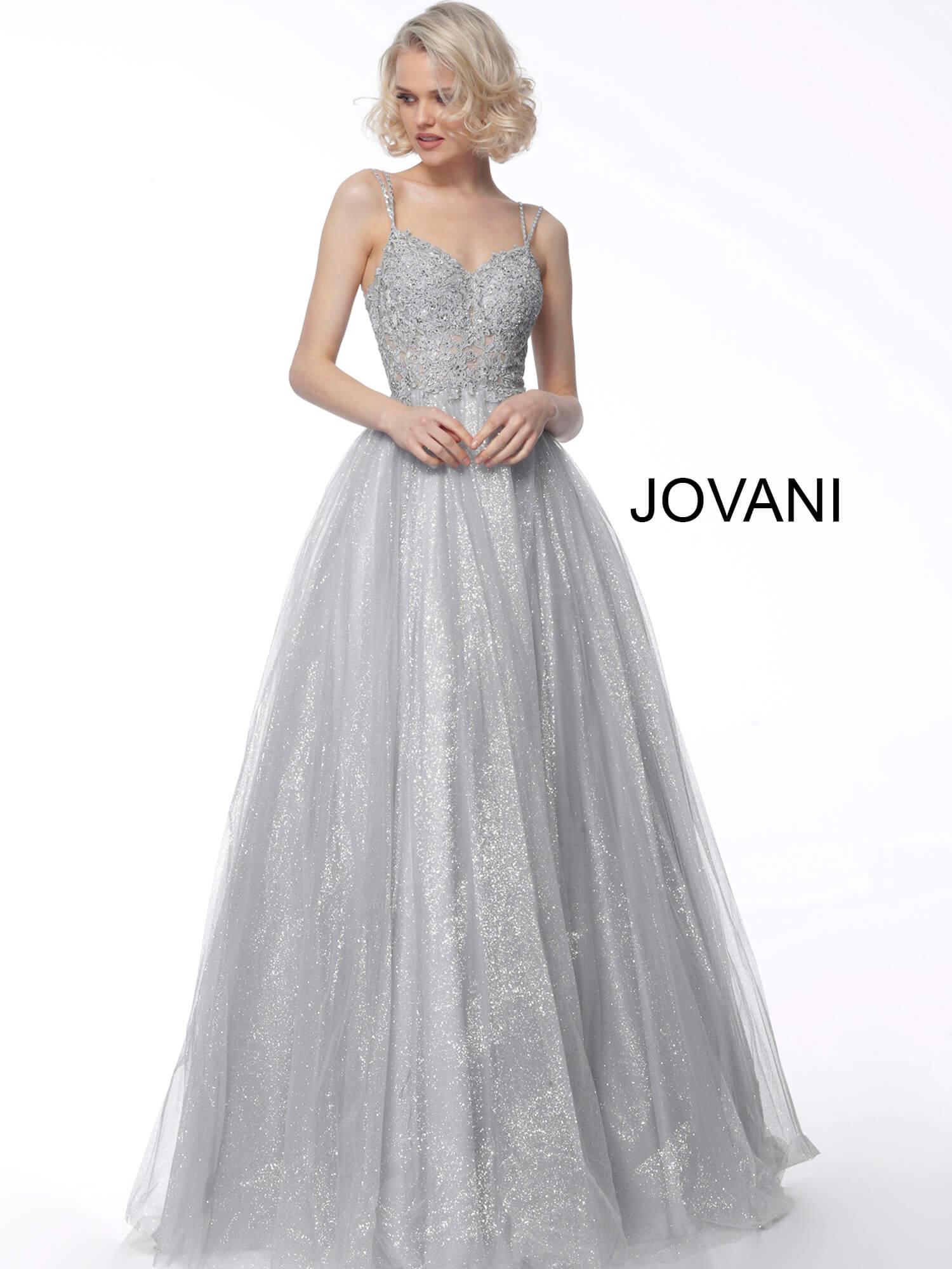beb192e6928d67 Jovani Silver Ball Gown