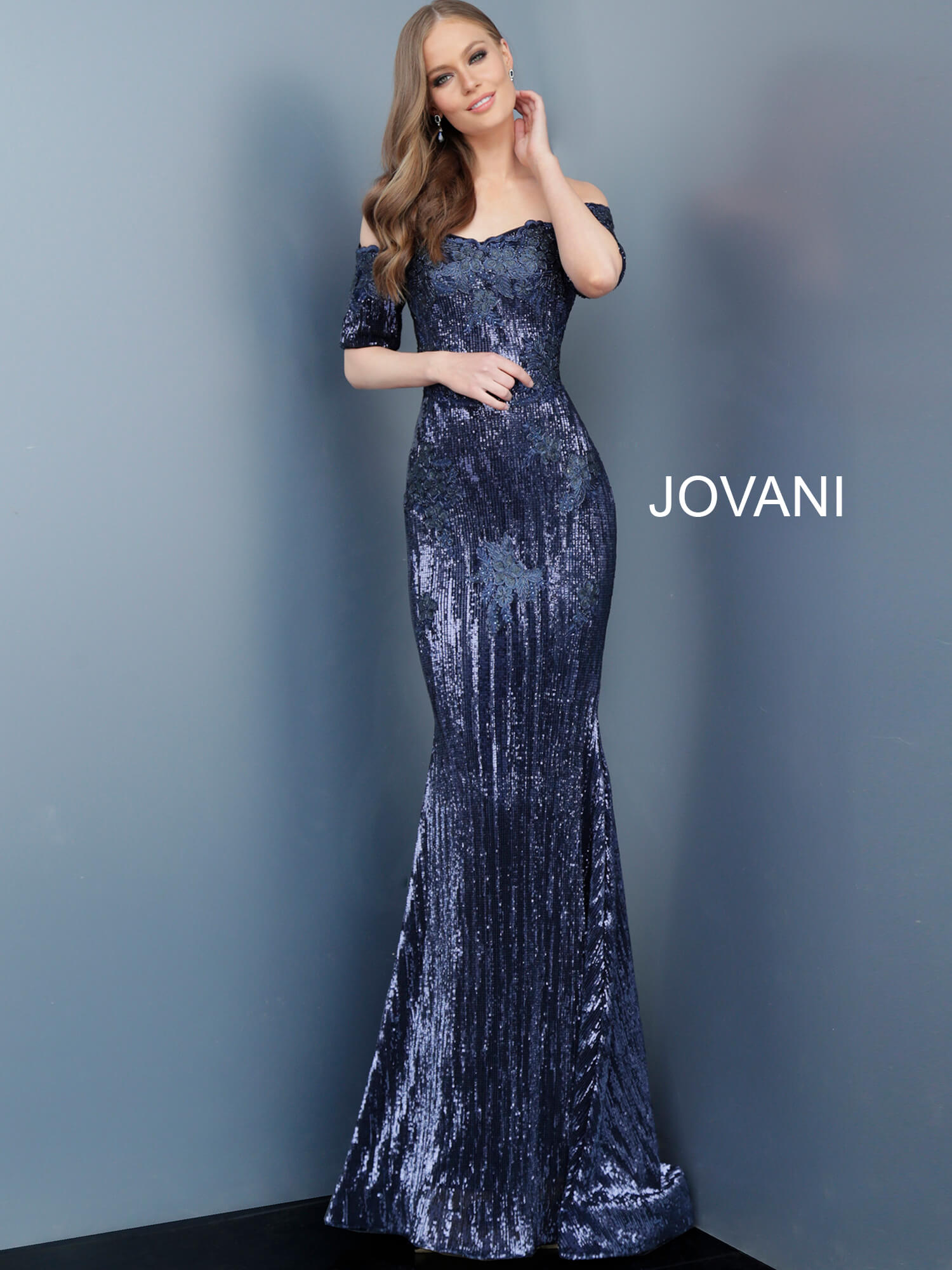 jovani Jovani 67104 Navy Off the Shoulder Mother of the Bride Dress