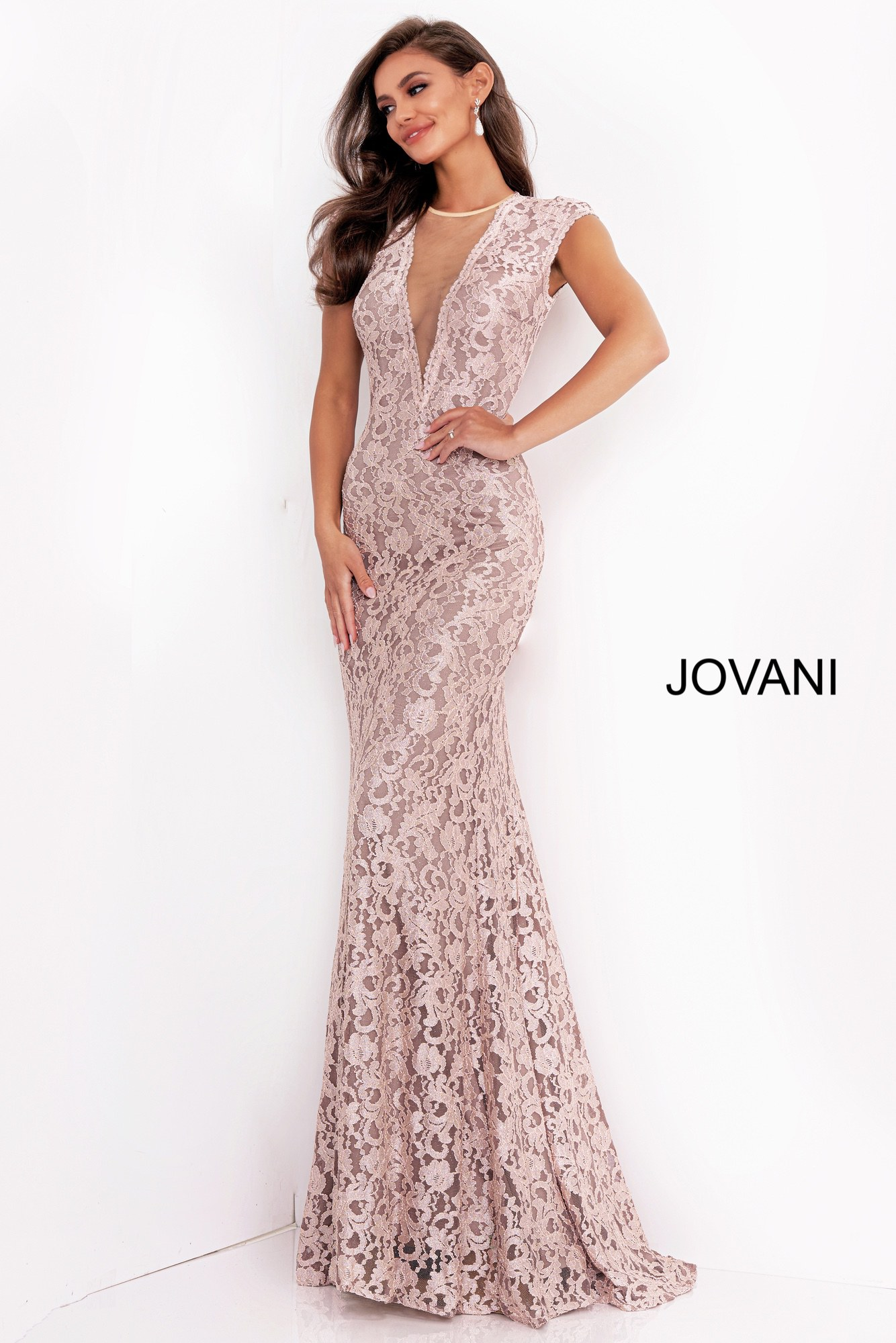 Jovani 8118 Taupe Open Back Lace Evening Dress