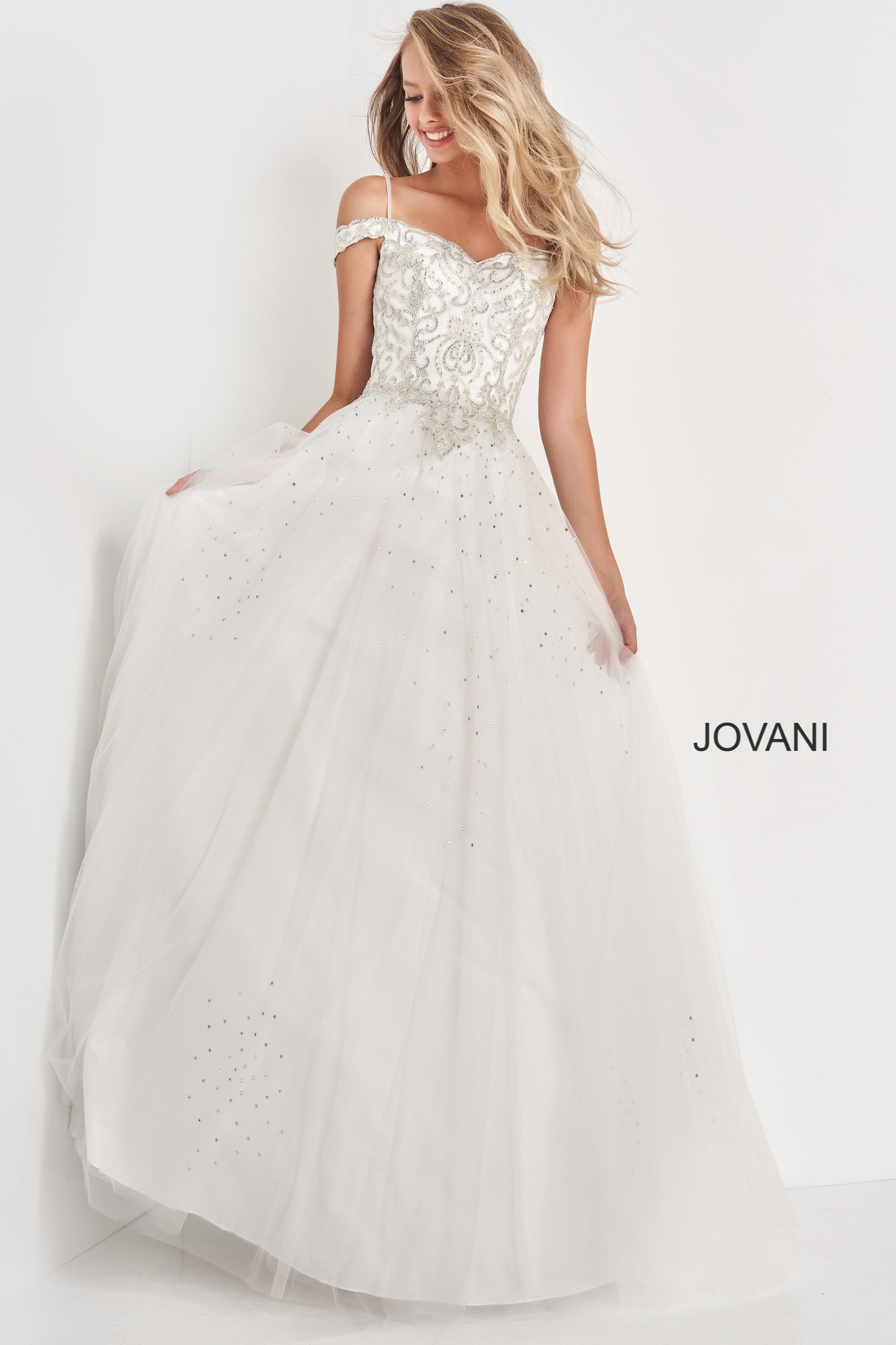 jovani White Off the Shoulder Long Jovani Girls Dress K66721