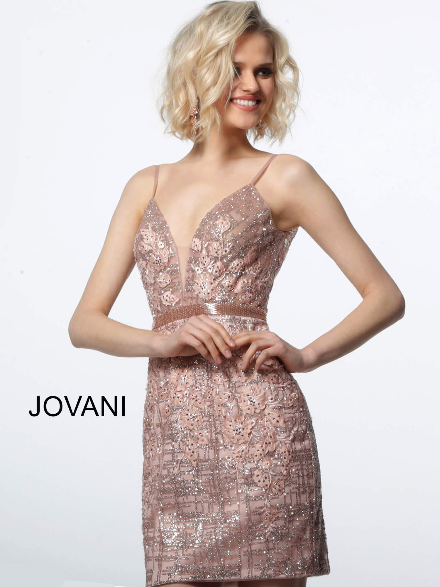 Jovani light pink lace cocktail dress 1106 on mobile 4