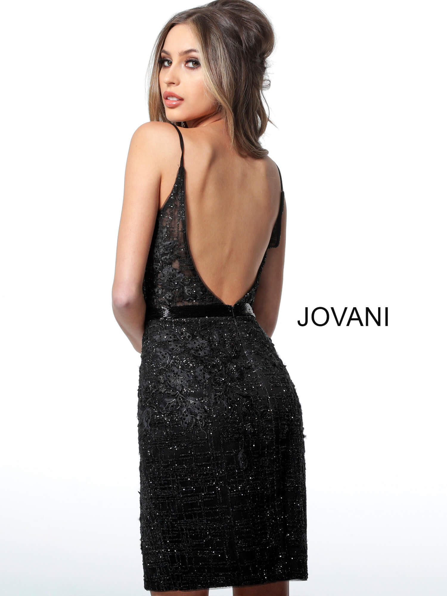 Jovani embellished lace fitted cocktail dress 1106 on mobile 0