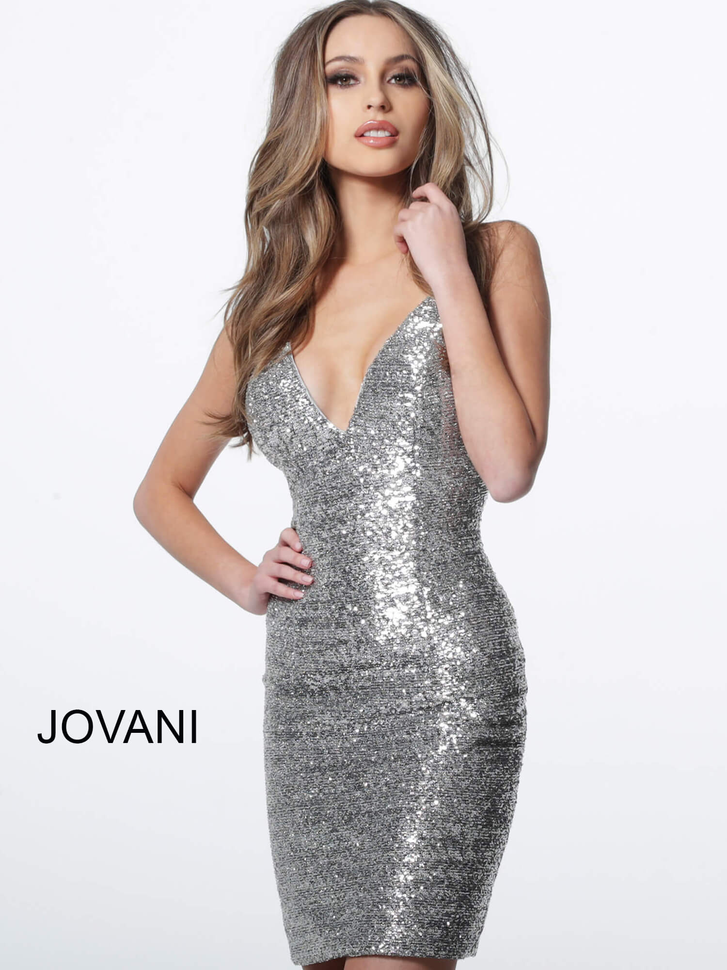 jovani Jovani 1113 Silver Backless Fitted Sequin Cocktail Dress  on mobile 2