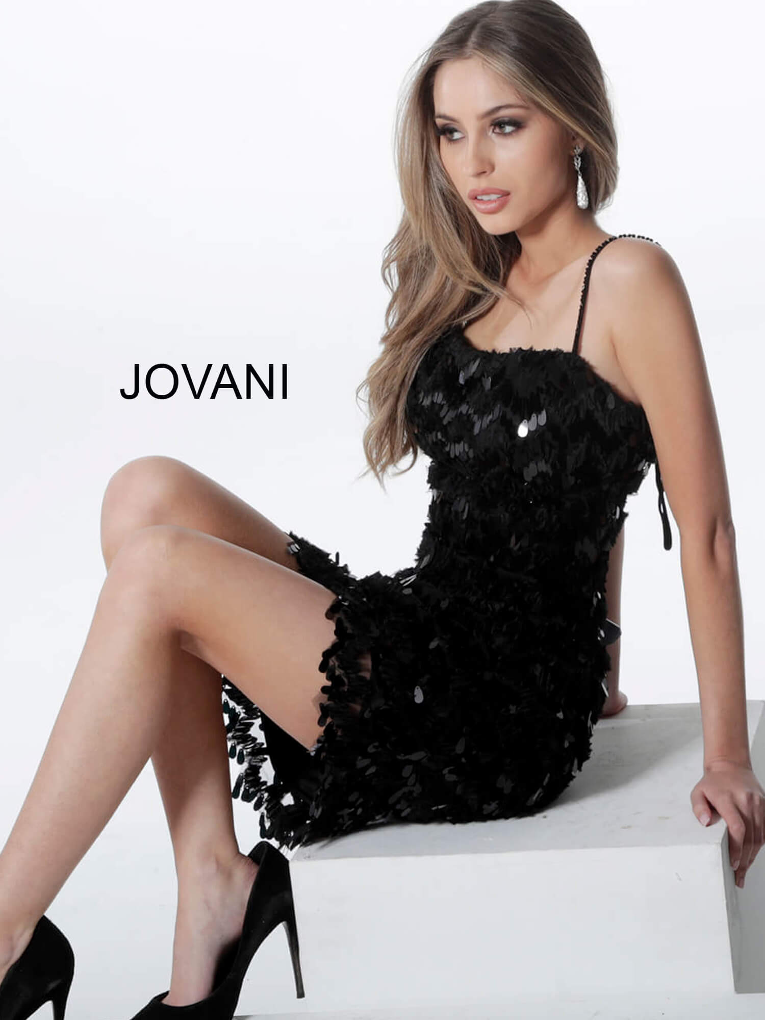 Jovani embellished short black cocktail dress 1480 on mobile 2