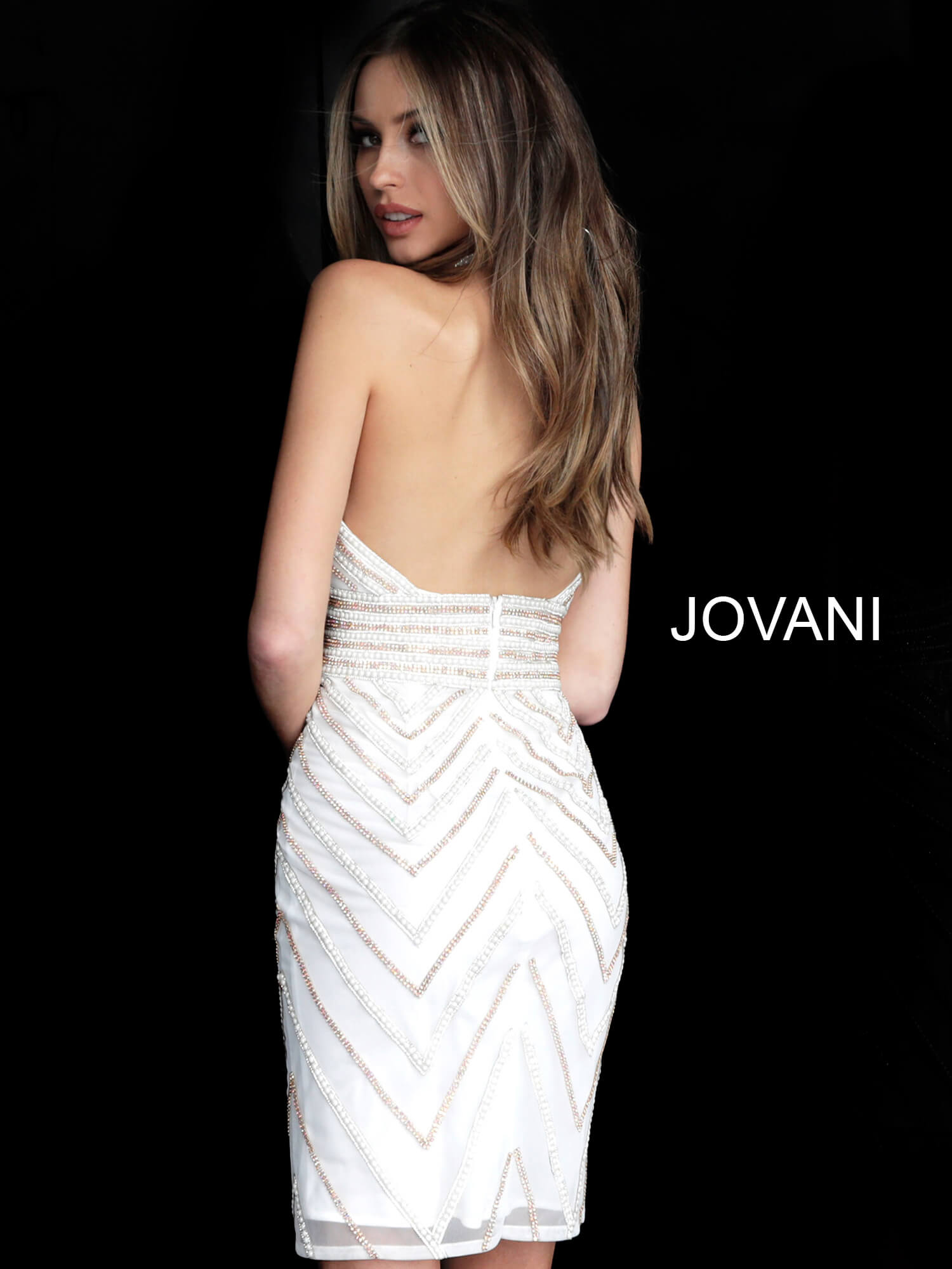 Jovani 2270 Halter Neck Embellished Cocktail Dress  on mobile 3