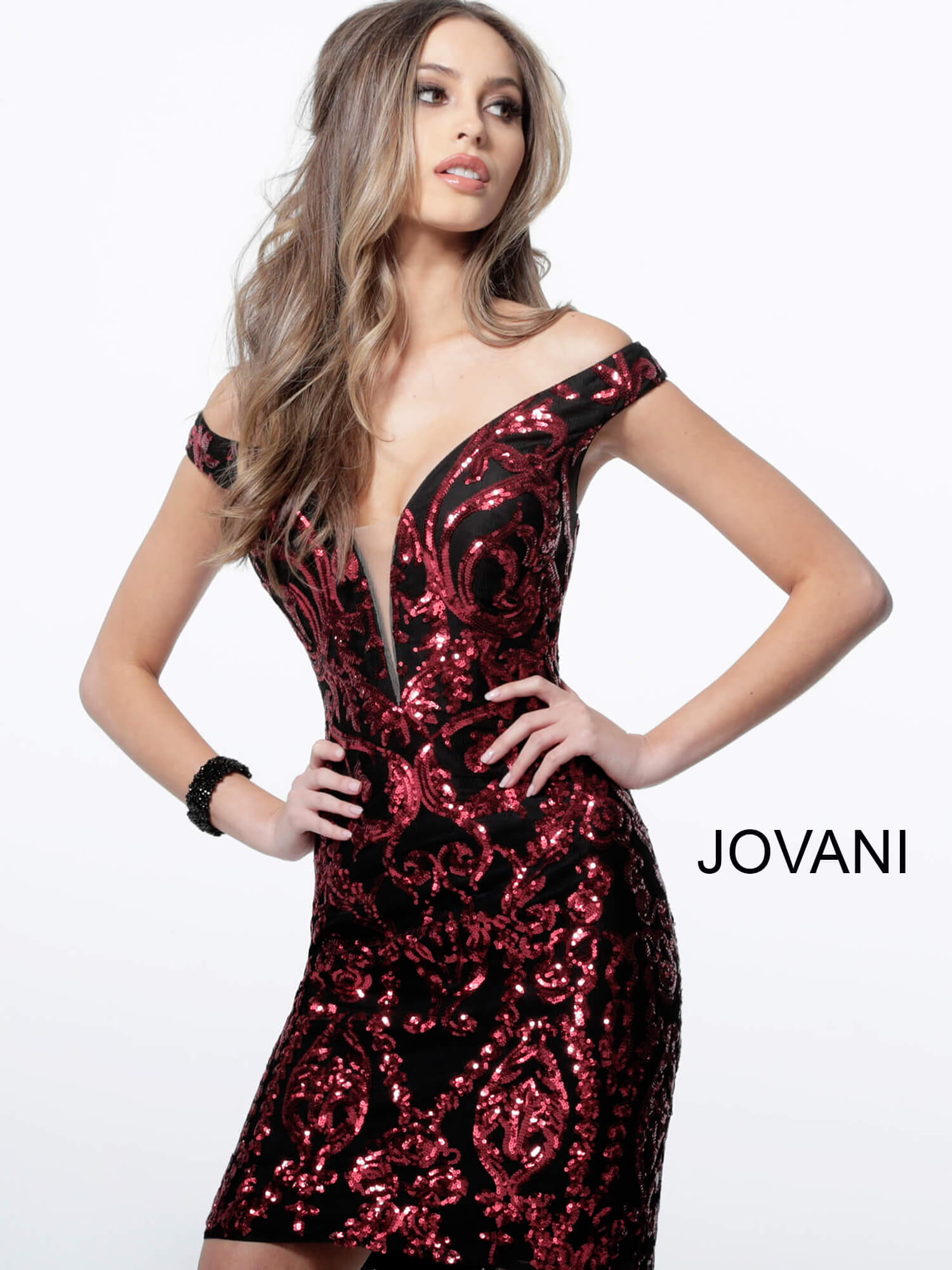 Jovani 2666 Black Red Off the Shoulder Embellished Short Dress