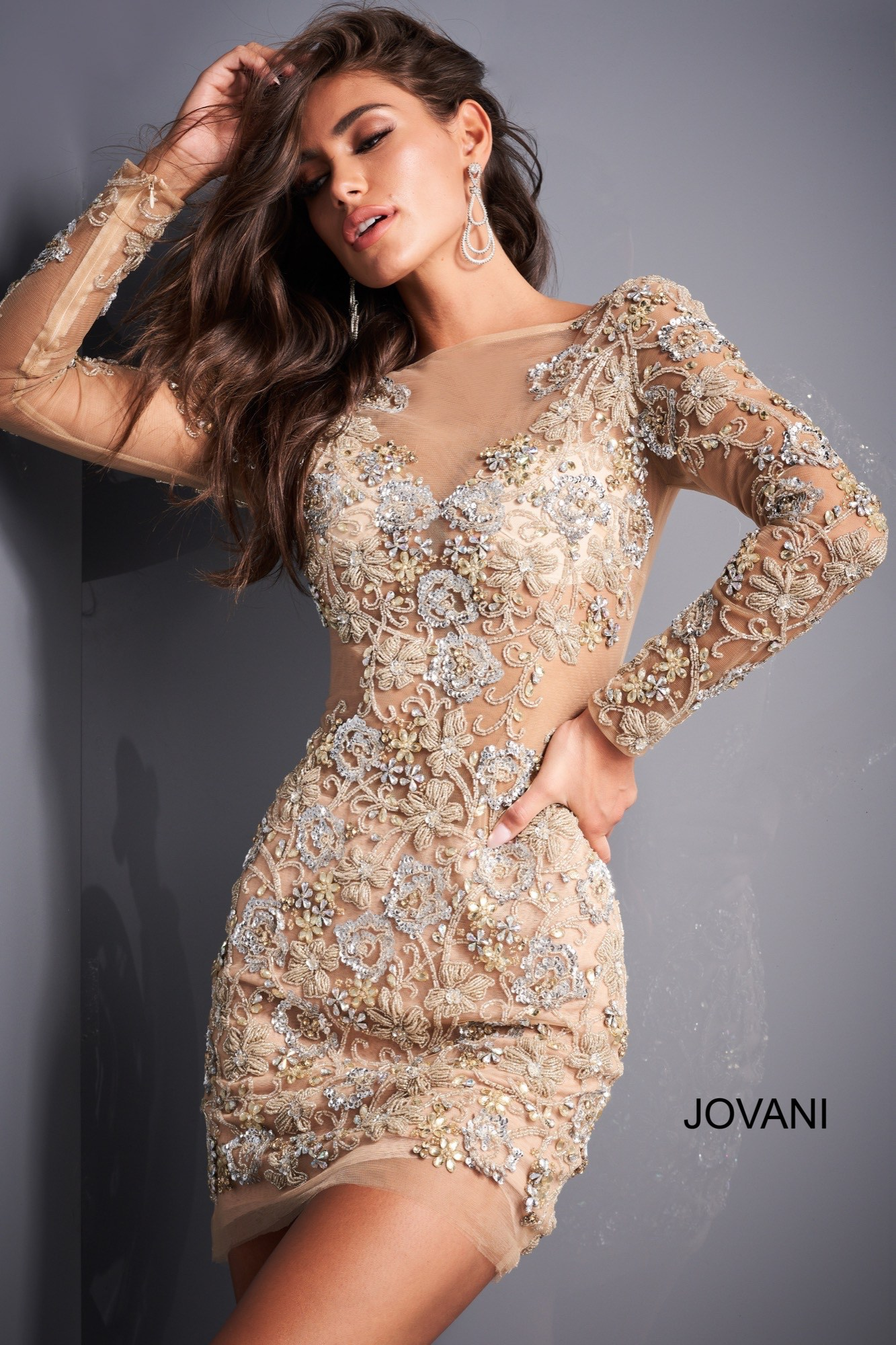 Long sleeve nude silver gold hoco dress Jovani 3011