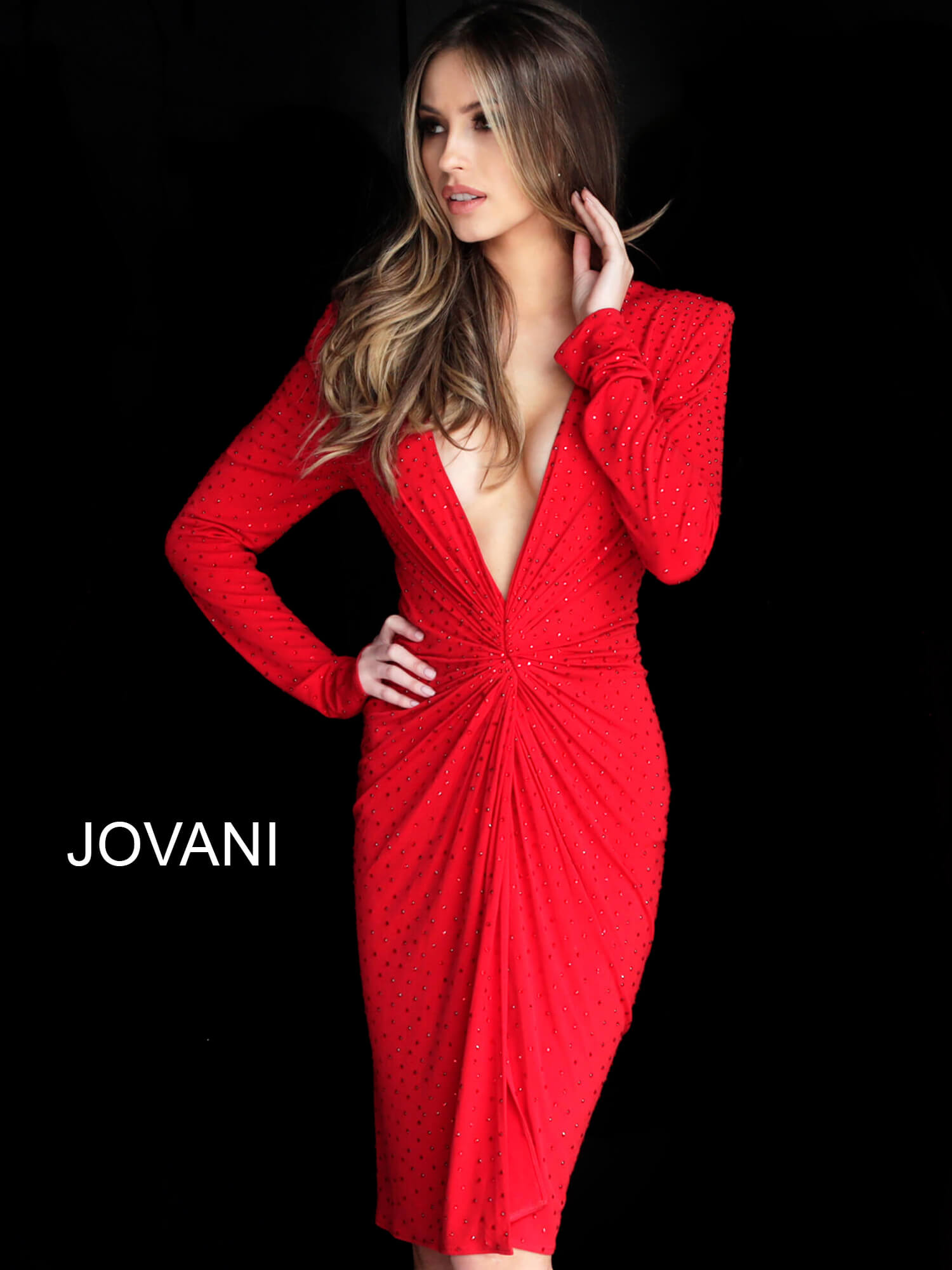 Jovani red long sleeve plunging cocktail dress 3059 on mobile 0