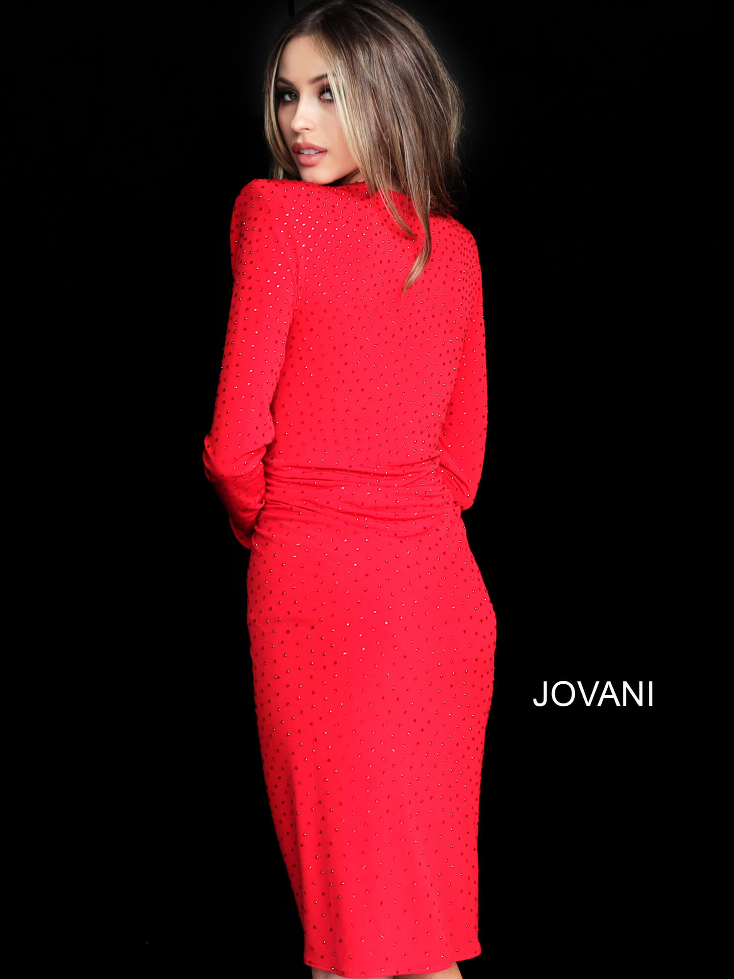 Jovani red ruched beaded cocktail dress 3059 on mobile 3