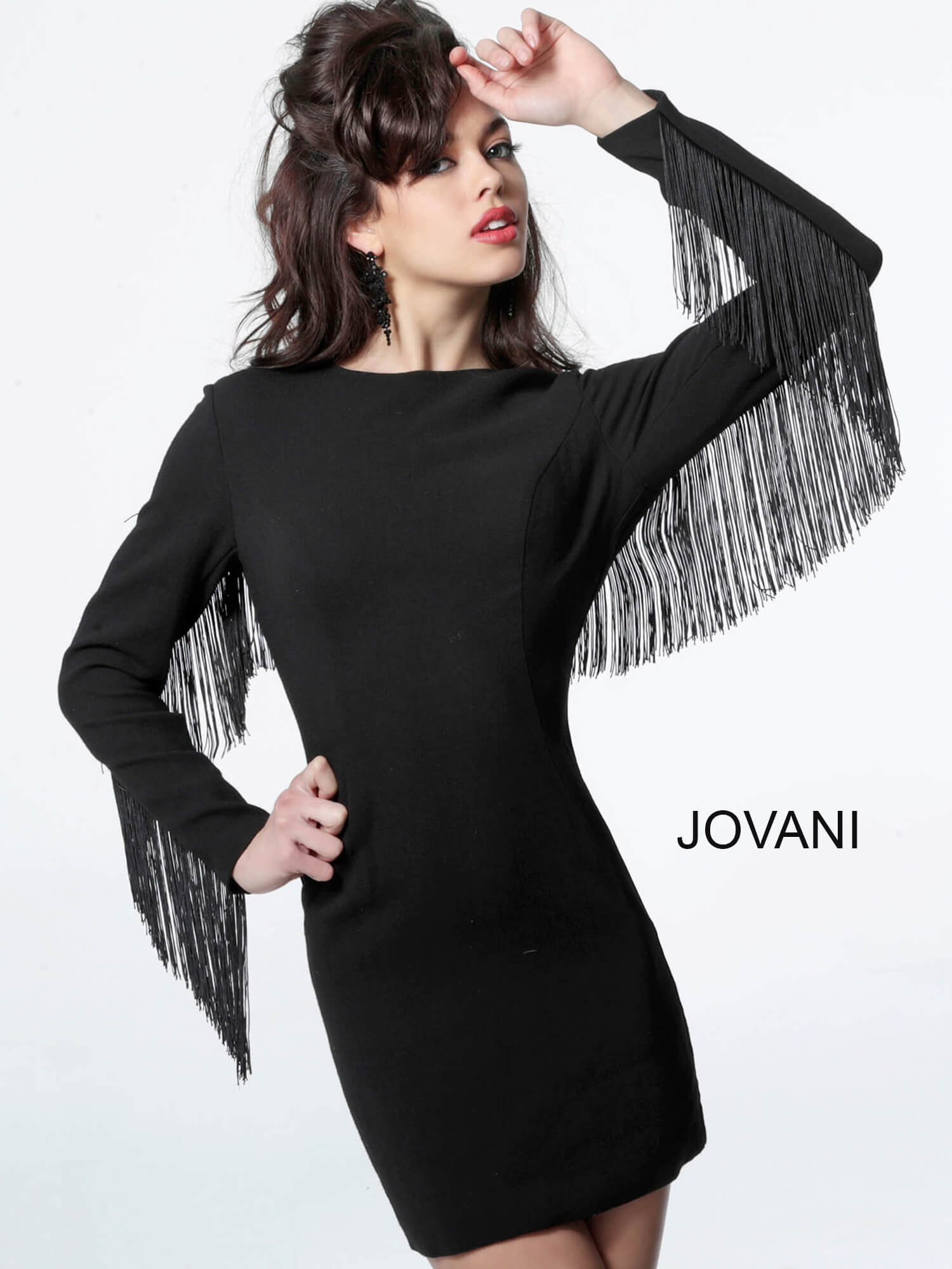 jovani Jovani 33011 Black Open Back Long Sleeve Cocktail Dress