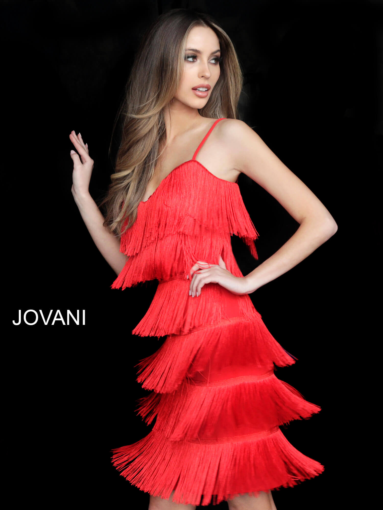 jovani Jovani 35735 Red Spaghetti Straps Fringe Cocktail Dress  on mobile 7